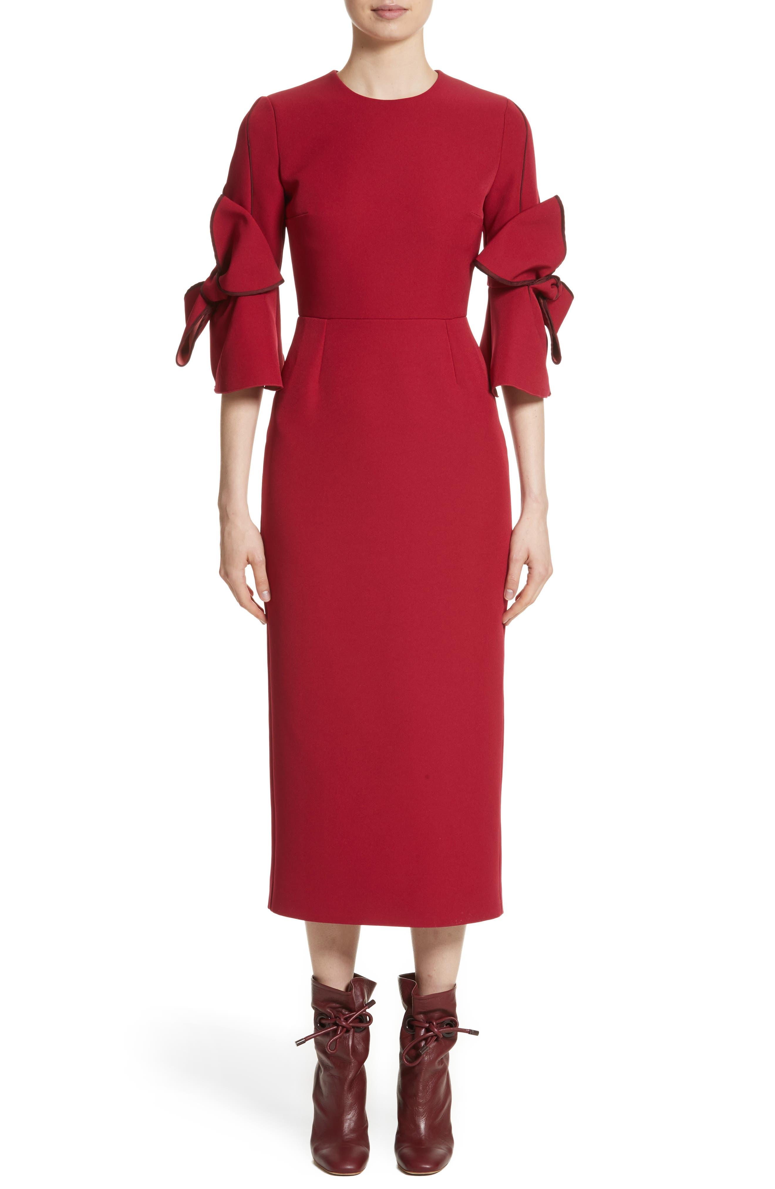 Lavete Bow Sleeve Crepe Dress,                             Main thumbnail 1, color,