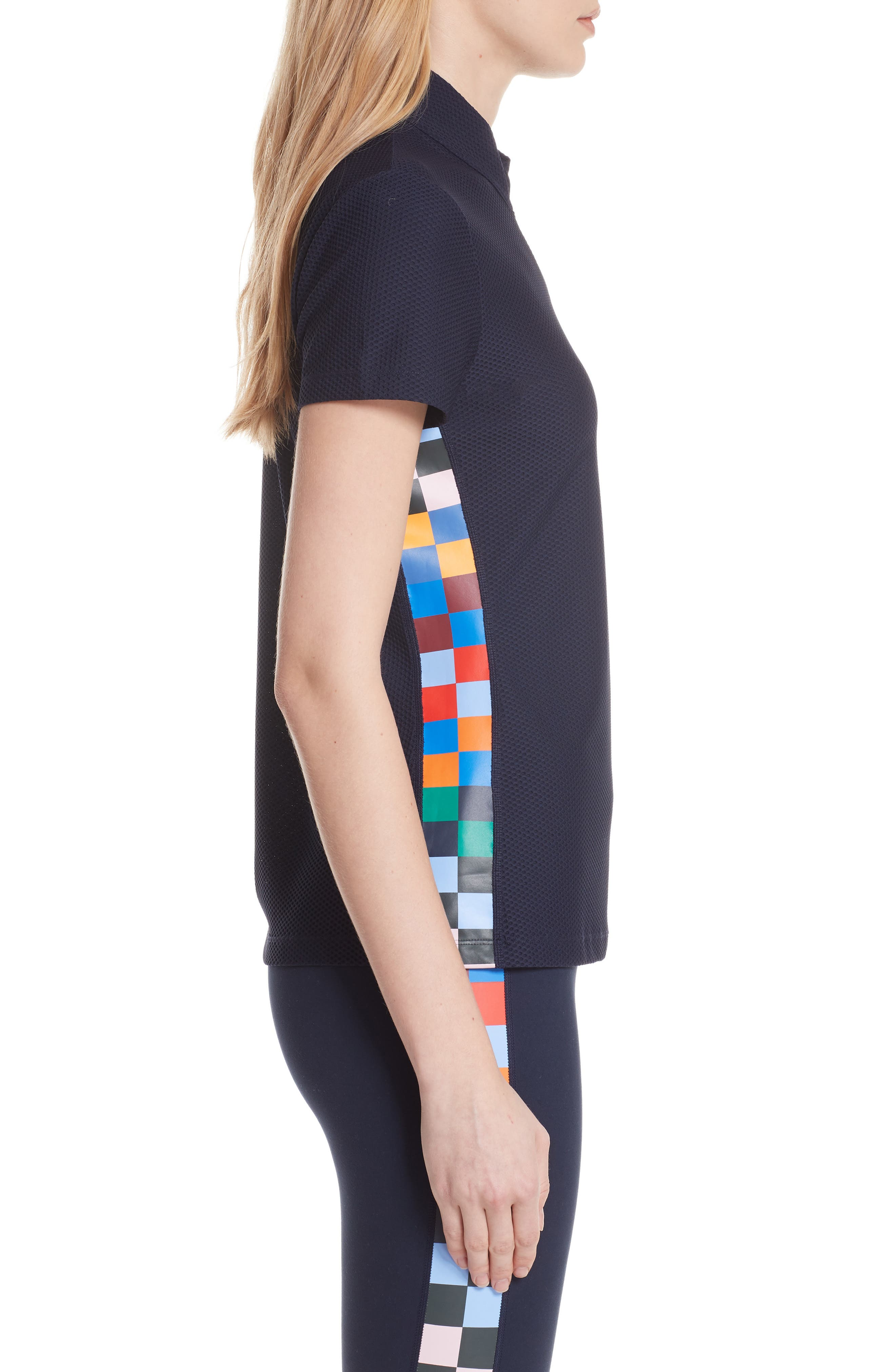 Checker Quarter Zip Mesh Top,                             Alternate thumbnail 3, color,                             TORY NAVY