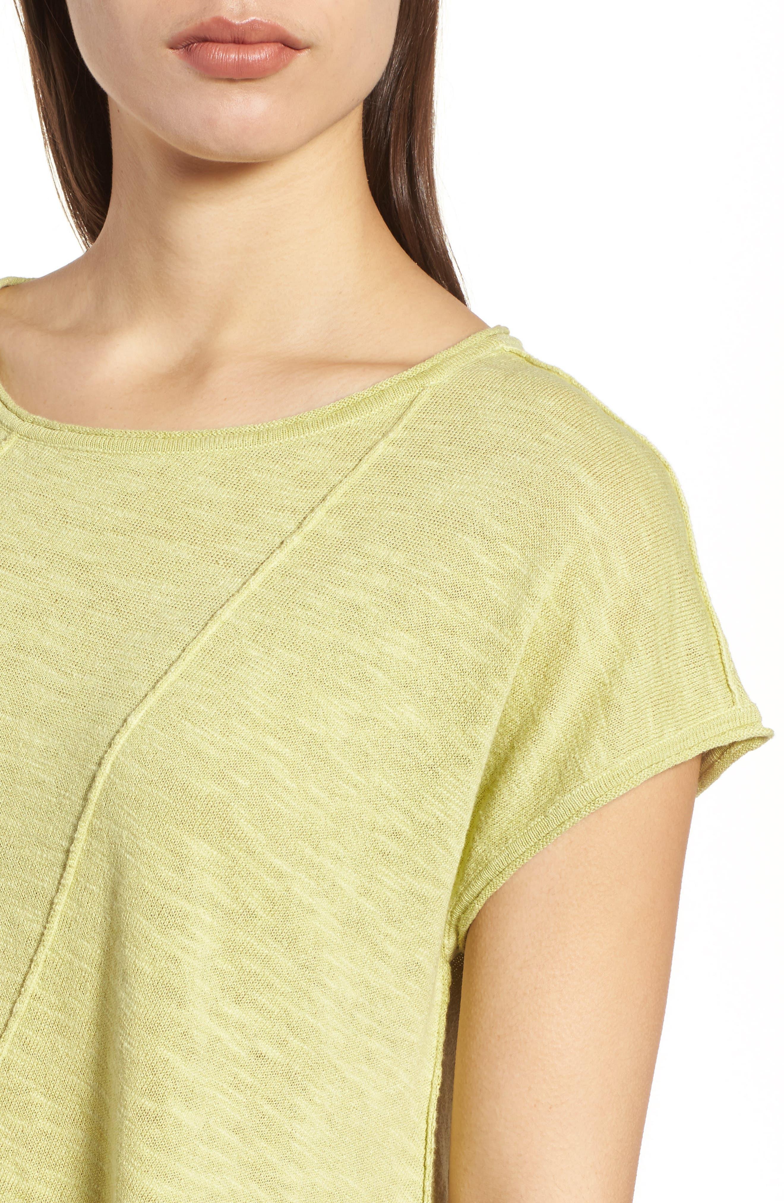 Cap Sleeve Organic Linen & Cotton Scoop Neck Top,                             Alternate thumbnail 60, color,