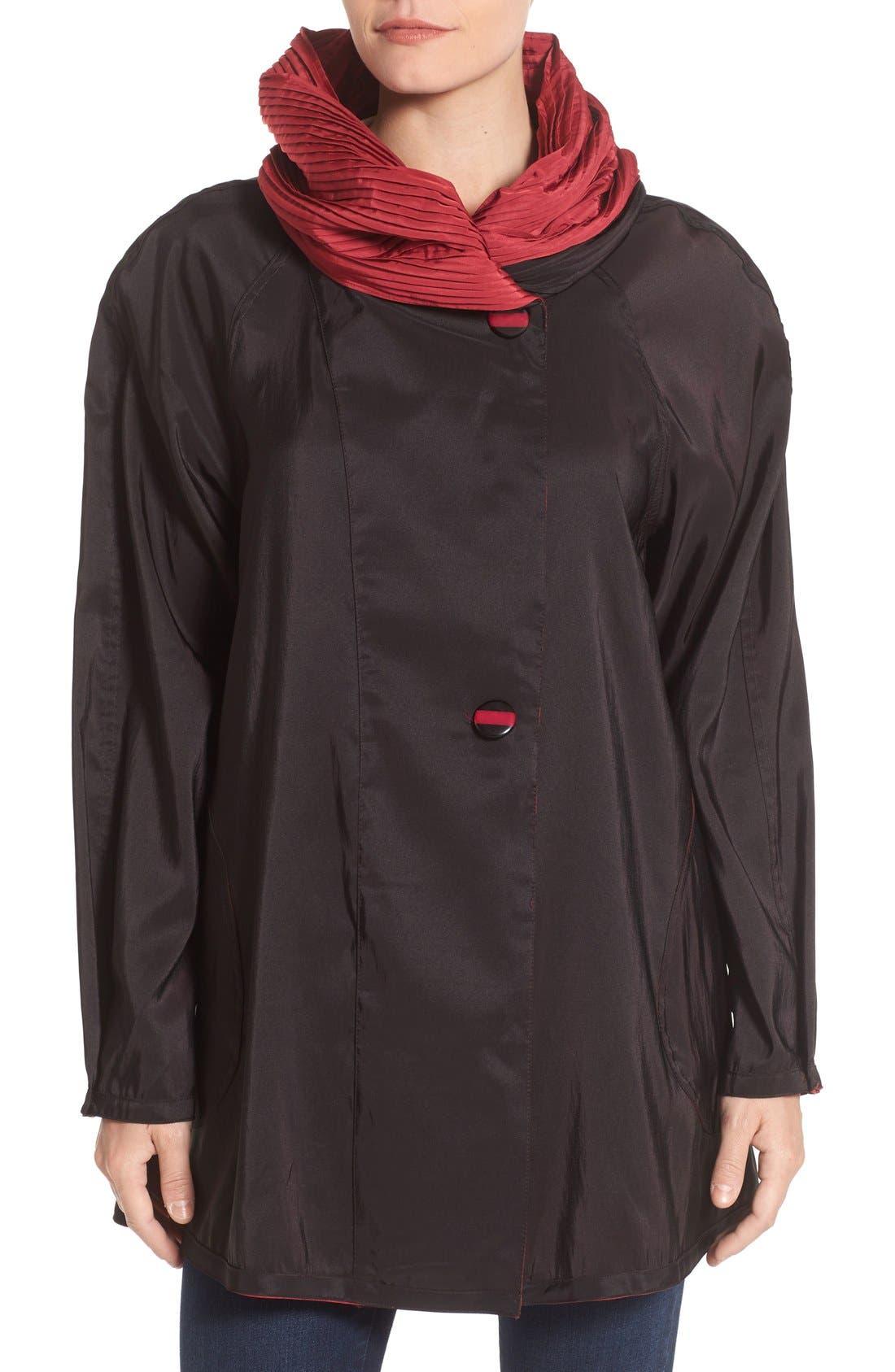 'Mini Donatella' Reversible Pleat Hood Packable Travel Coat,                             Alternate thumbnail 42, color,