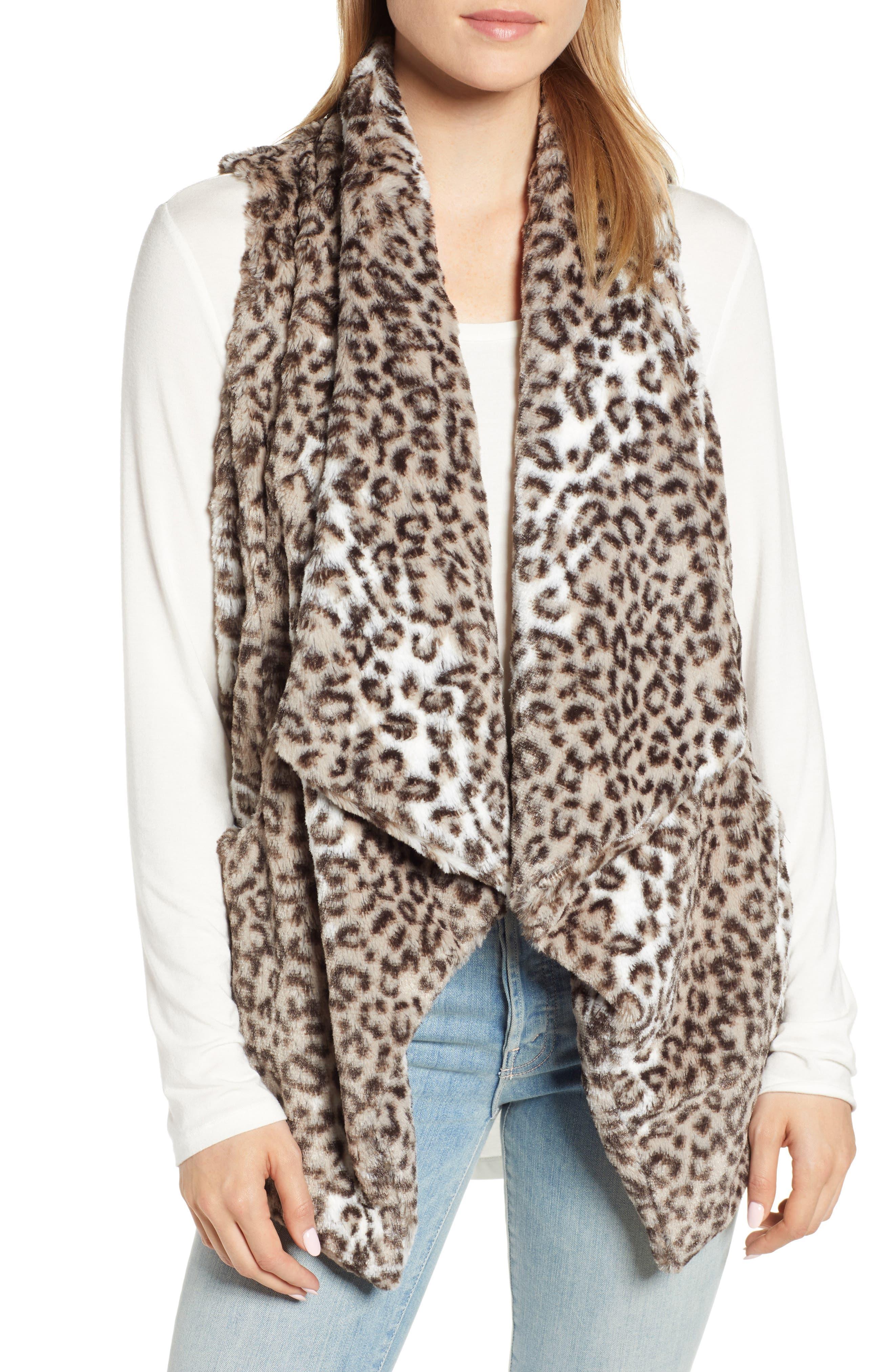 Draped Faux Leopard Fur Vest,                         Main,                         color, LIGHT CASHMERE