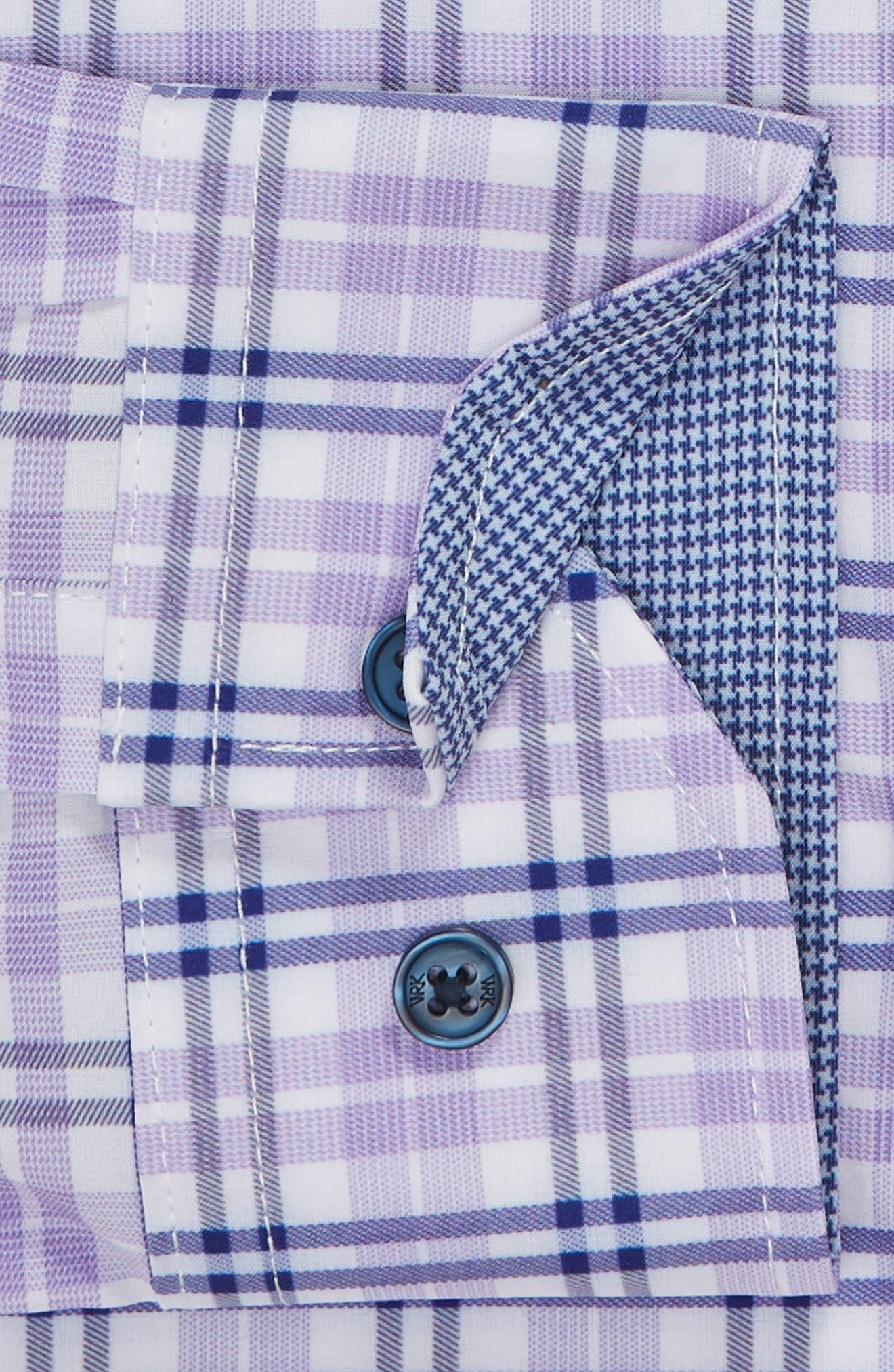 Trim Fit 4-Way Stretch Plaid Dress Shirt,                             Alternate thumbnail 6, color,                             PURPLE