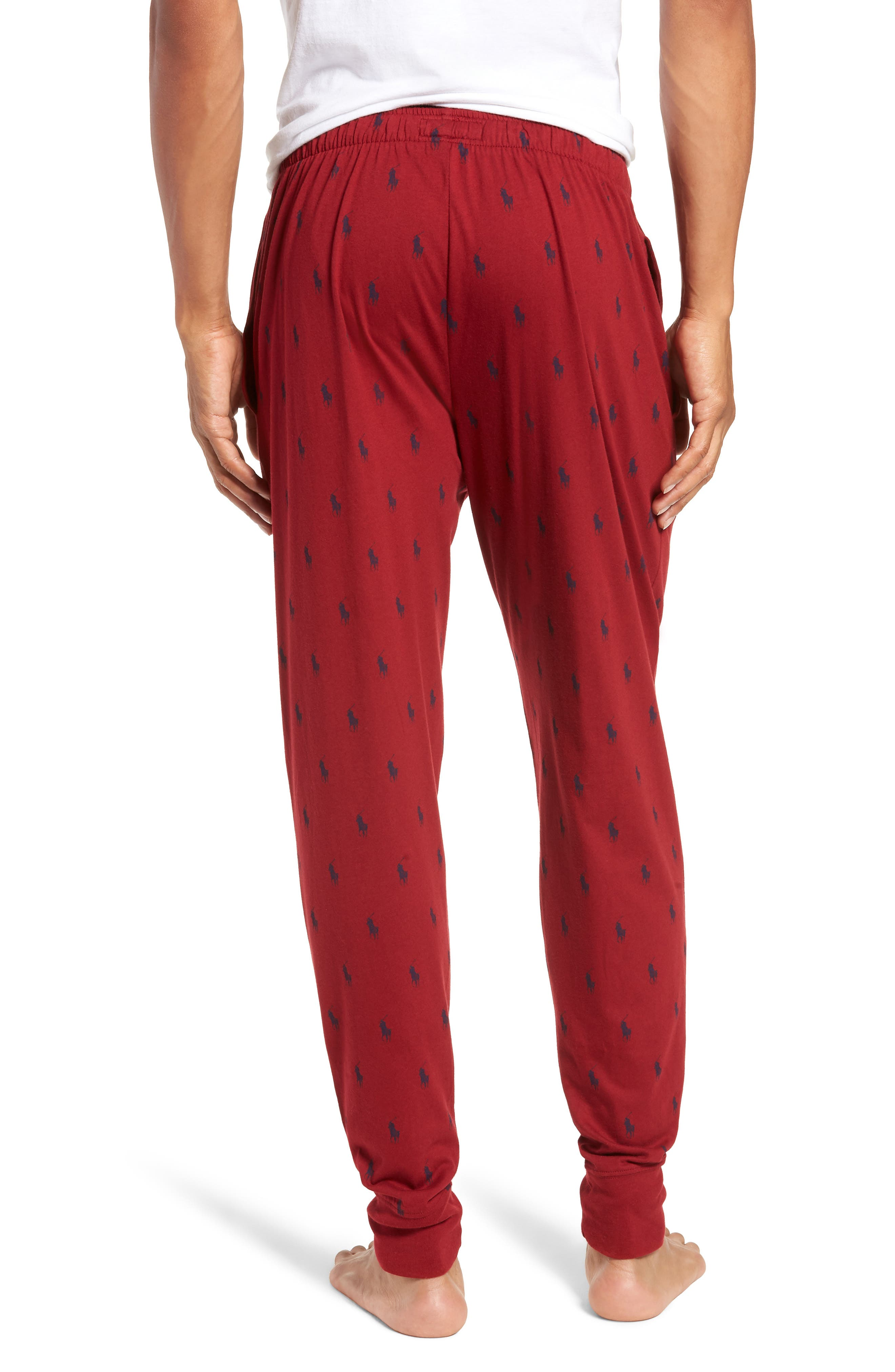 Cotton Lounge Pants,                             Alternate thumbnail 2, color,                             HOLIDAY RED/ CRUISE NAVY