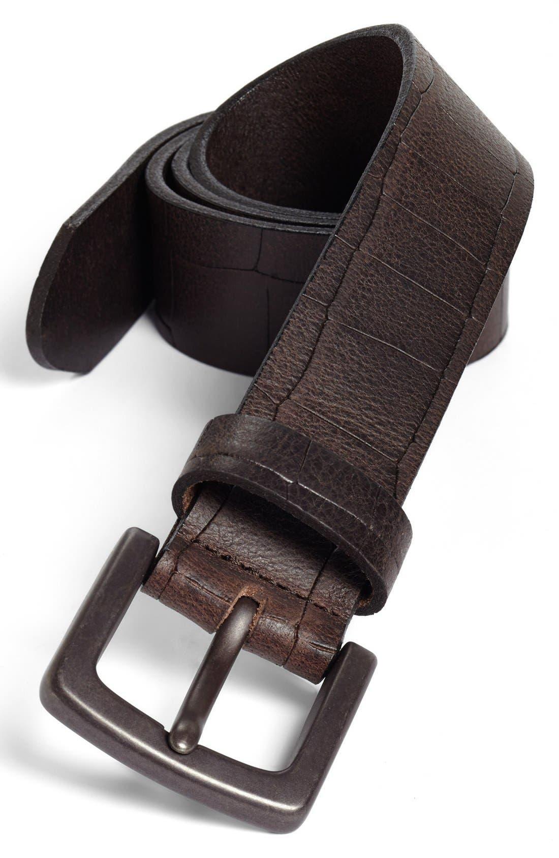 Gator Embossed Belt,                         Main,                         color, DARK BROWN