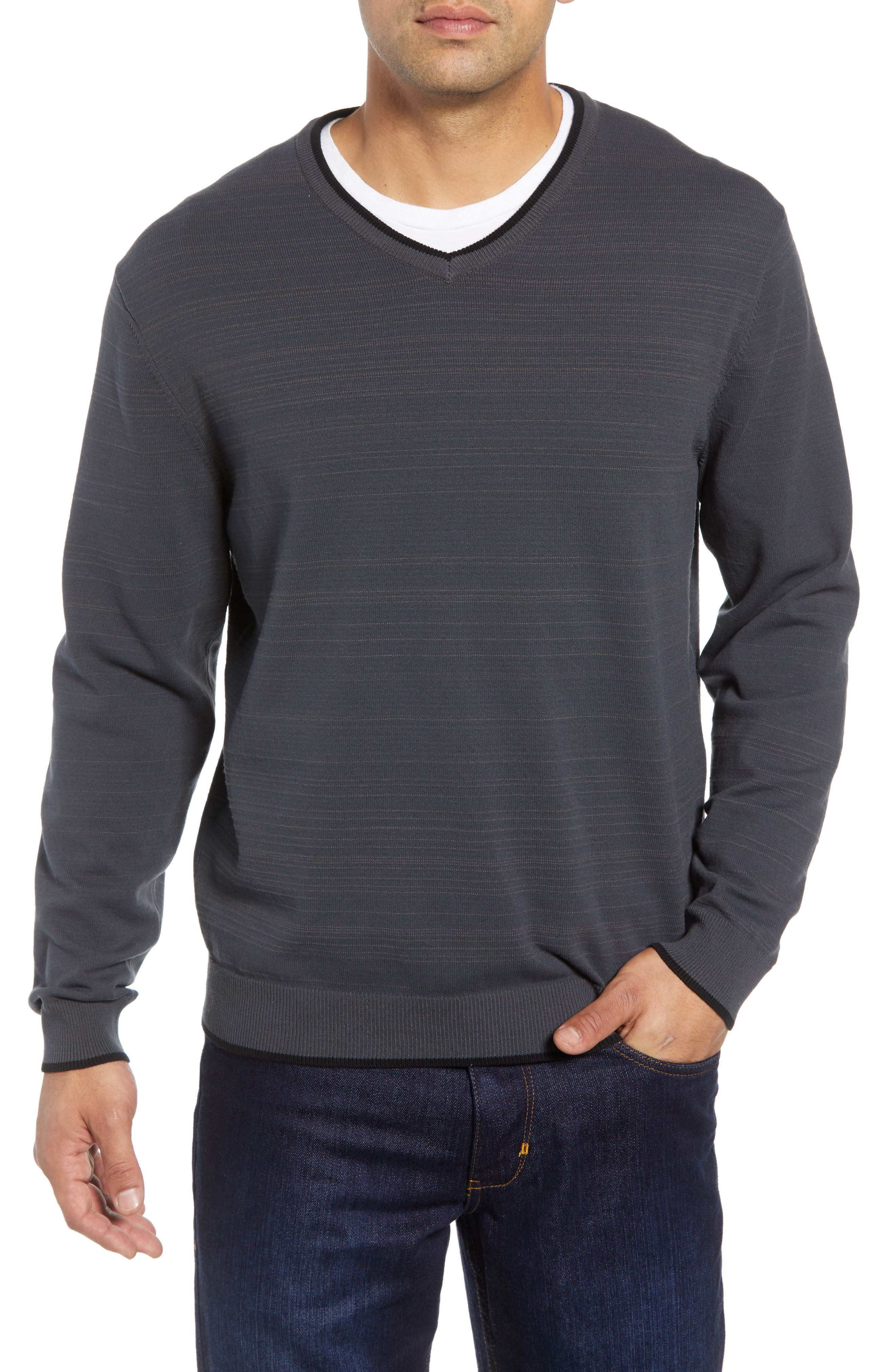 CUTTER & BUCK,                             Impact V-Neck Sweater,                             Main thumbnail 1, color,                             010