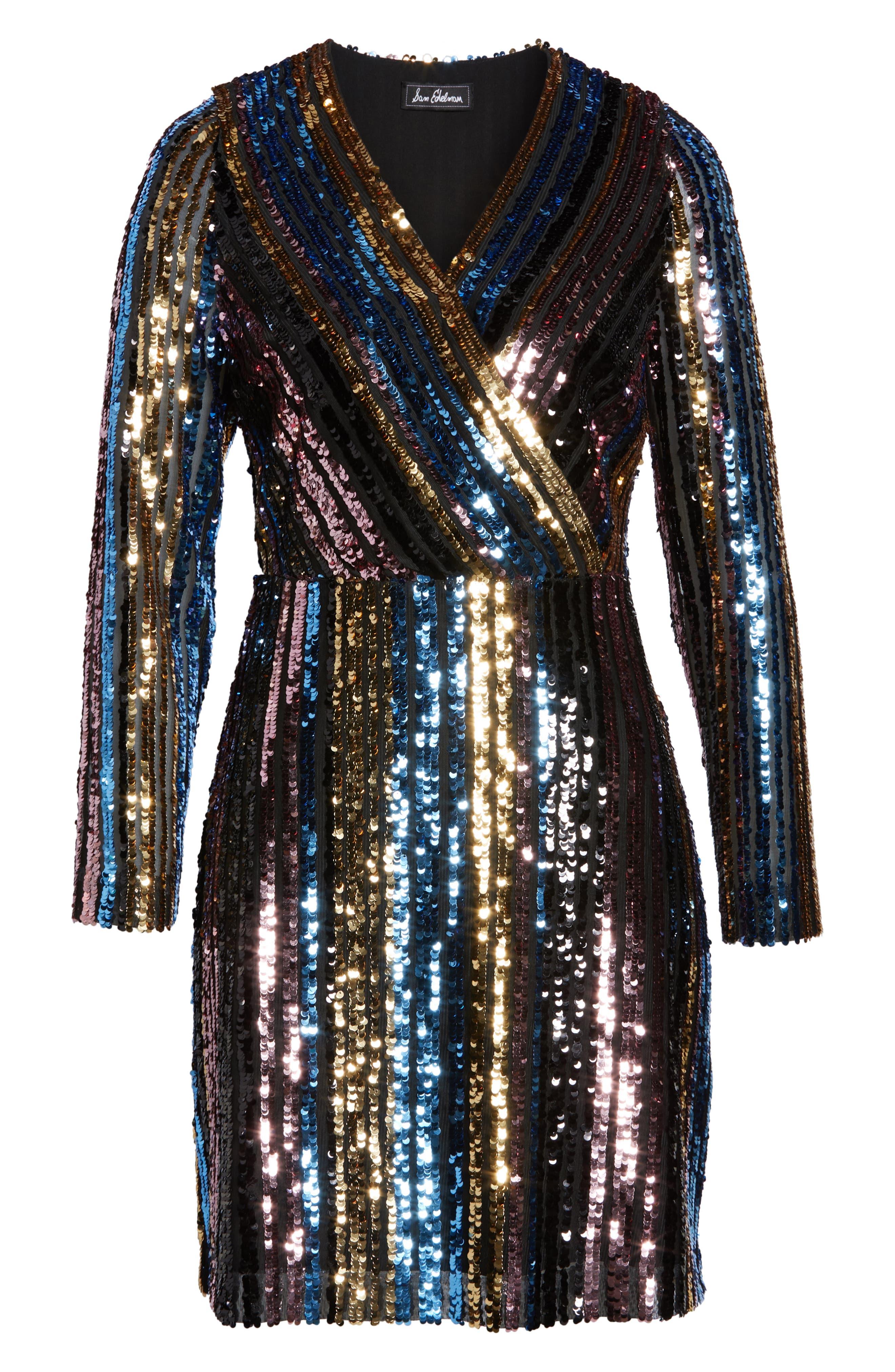 Sam Edleman Rainbow Stripe Sequin Wrap Front Dress,                             Alternate thumbnail 7, color,                             RAINBOW