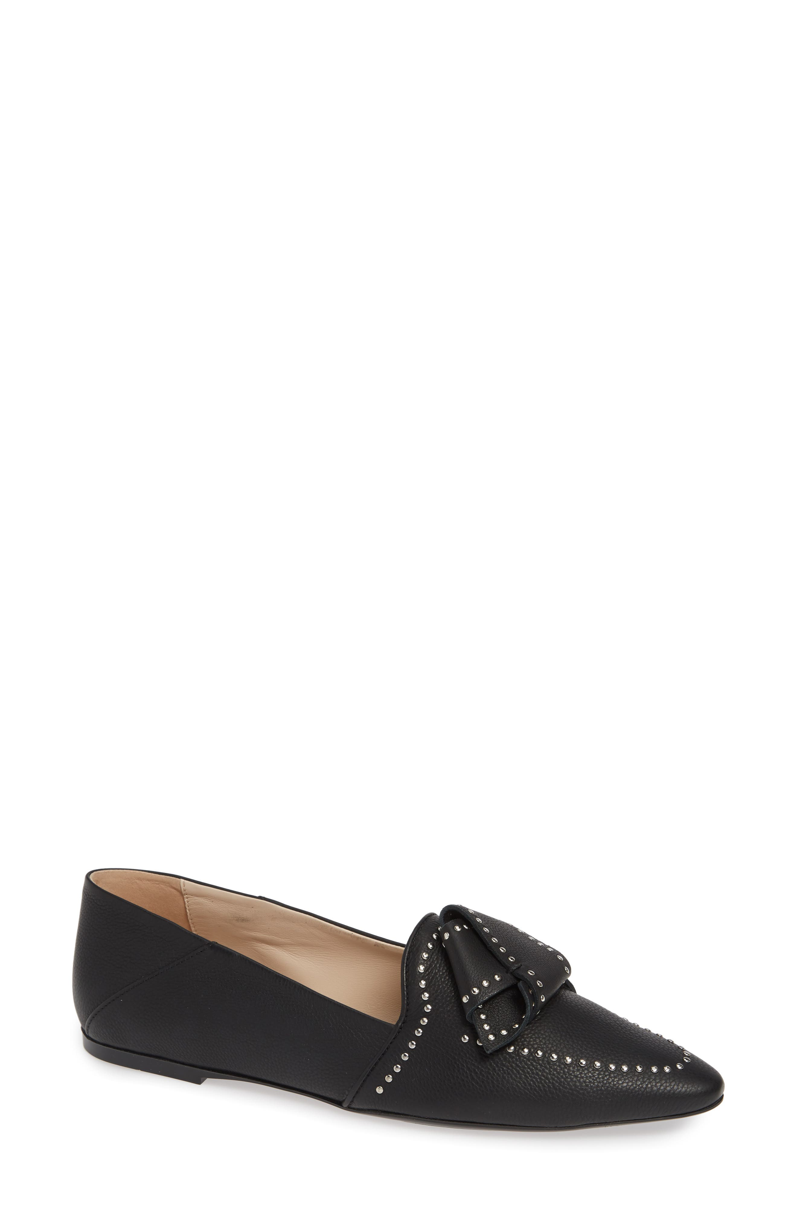Studded Bow Loafer,                             Main thumbnail 1, color,                             BLACK