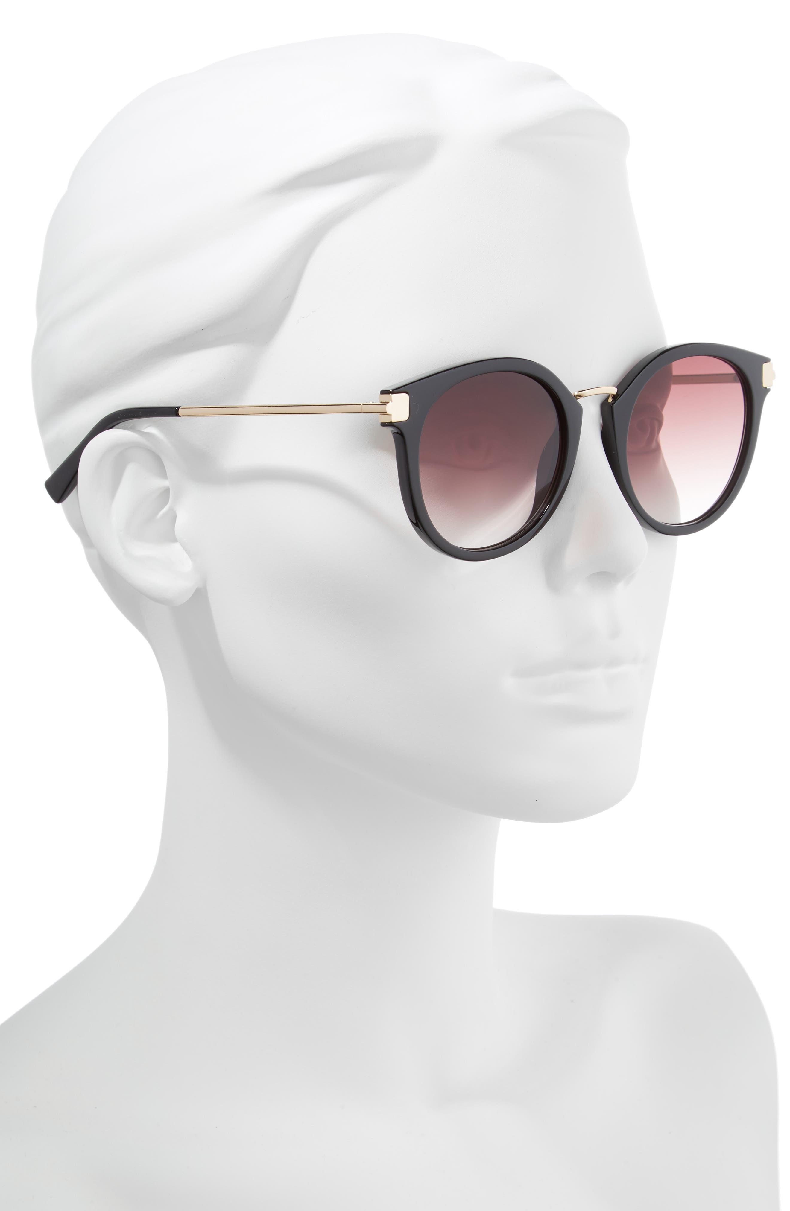 Last Dance 51mm Mirrored Round Sunglasses,                             Alternate thumbnail 2, color,                             BLACK