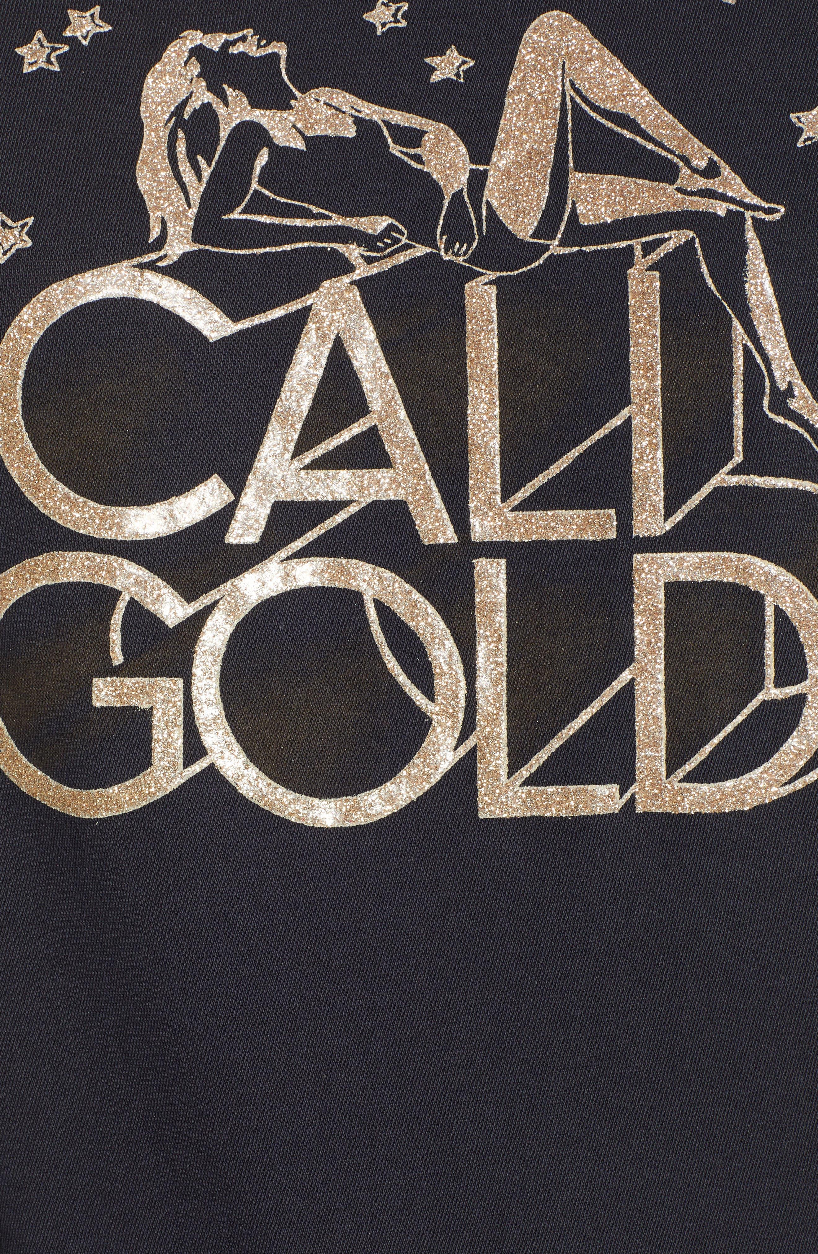 Cali Gold Tee,                             Alternate thumbnail 5, color,                             FADED BLACK