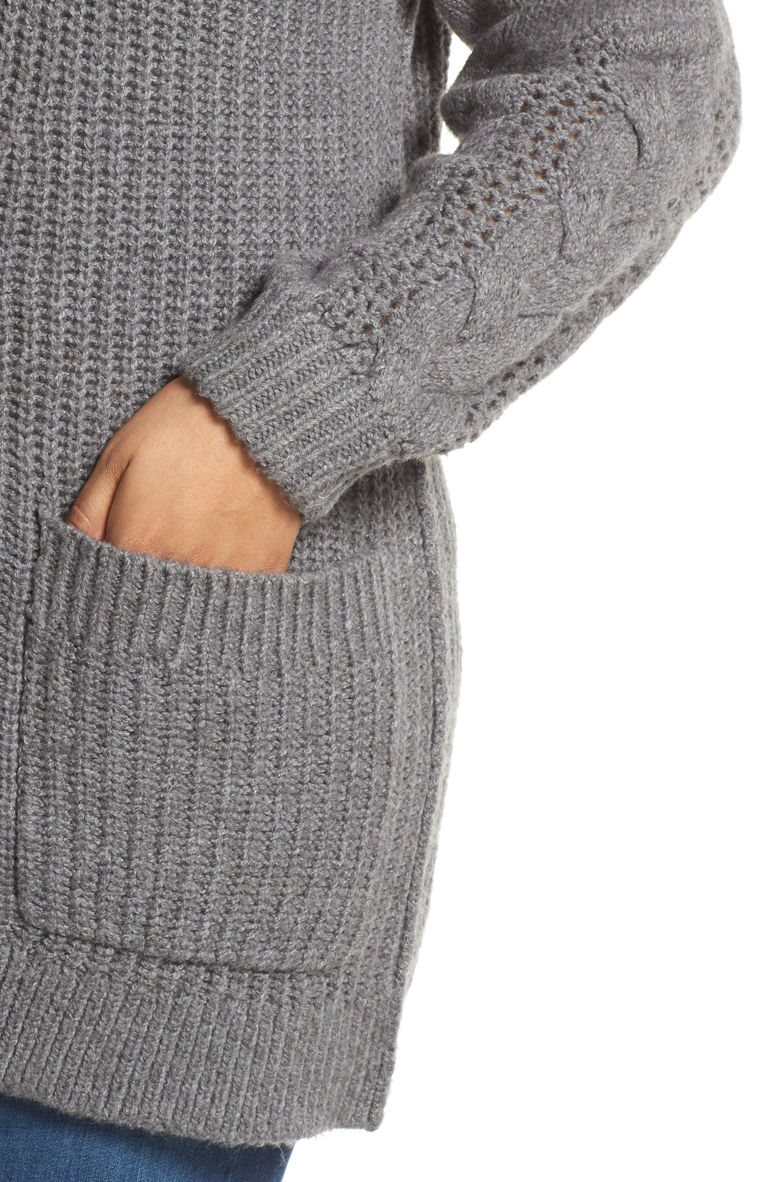 Cable Knit Sleeve Cardigan,                             Alternate thumbnail 4, color,                             GREY DARK HEATHER