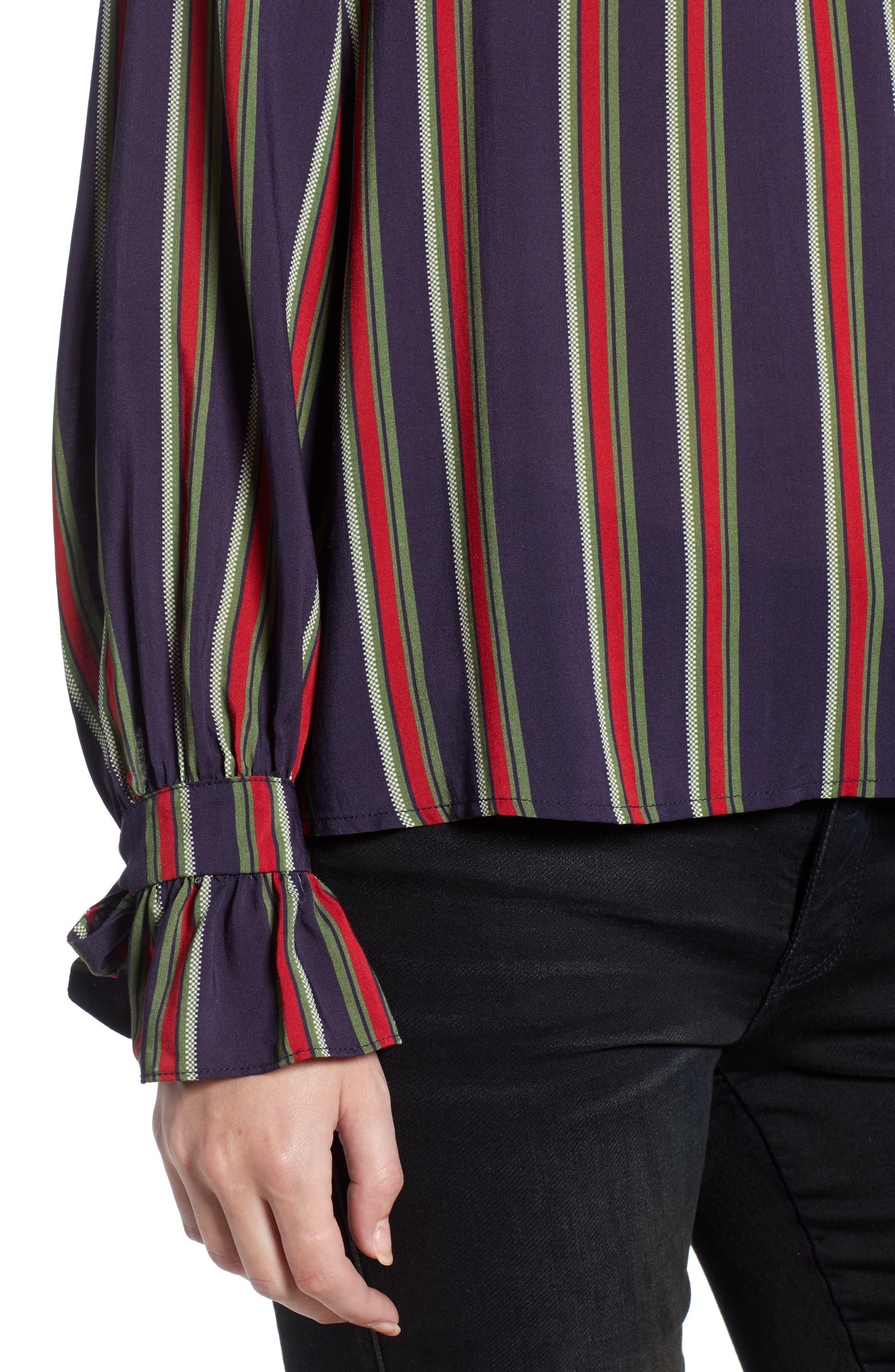 VELVET BY GRAHAM & SPENCER,                             School Stripe Tie Sleeve Top,                             Alternate thumbnail 4, color,                             438