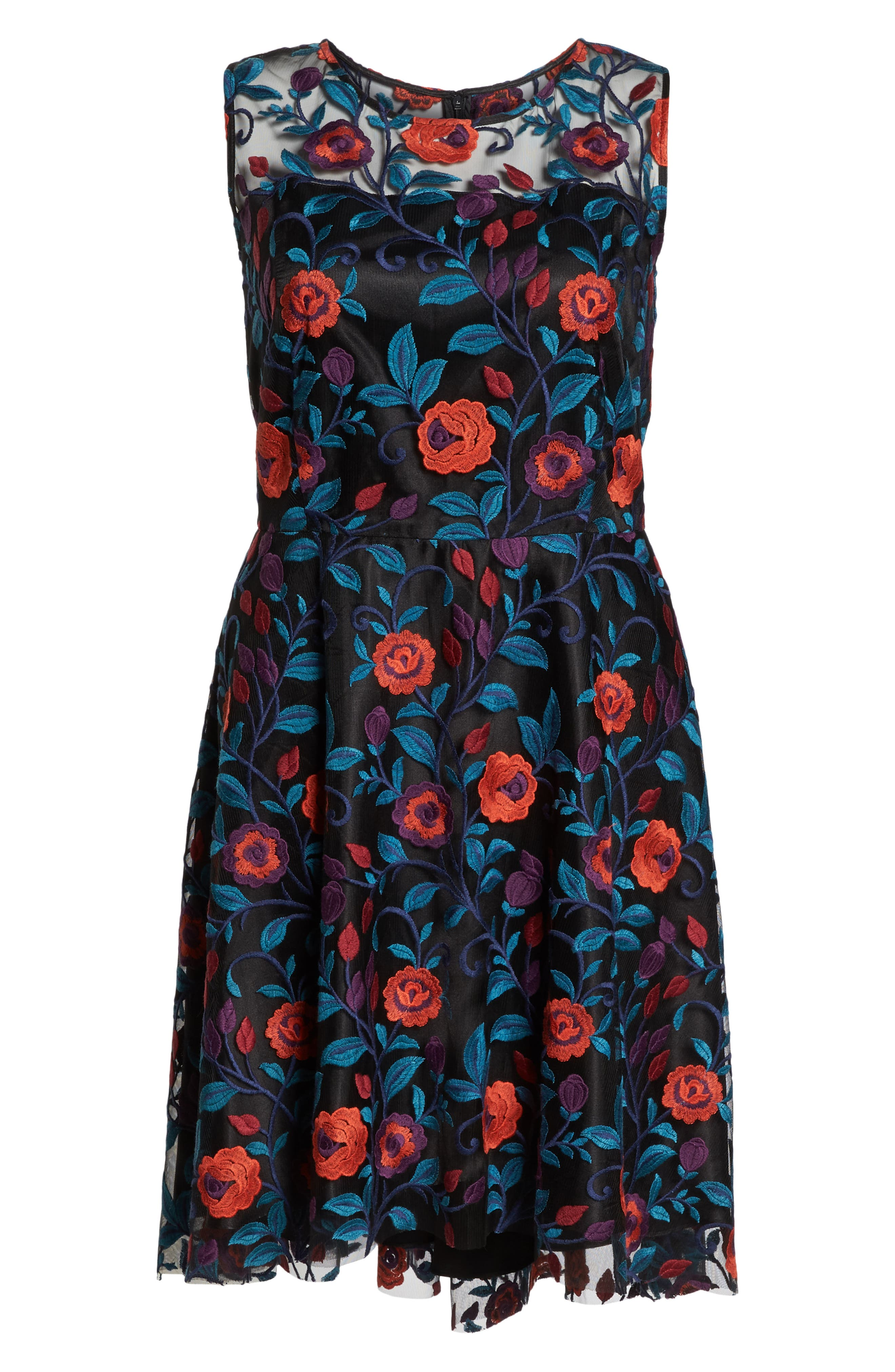 Floral Embroidery Fit and Flare Dress,                             Alternate thumbnail 6, color,                             BLACK/ TEAL/ RED