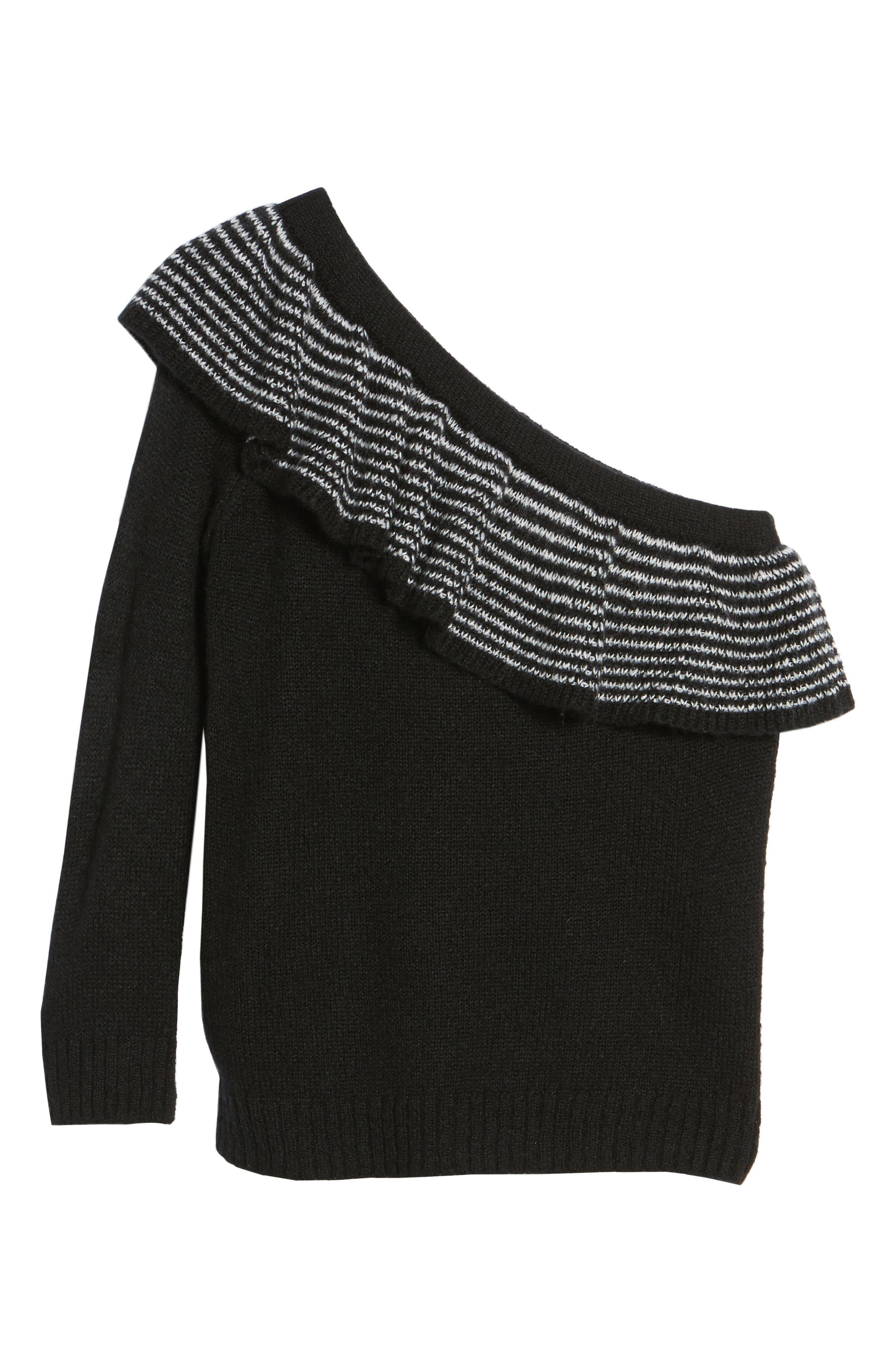Ruffle One-Shoulder Sweater,                             Alternate thumbnail 6, color,                             001