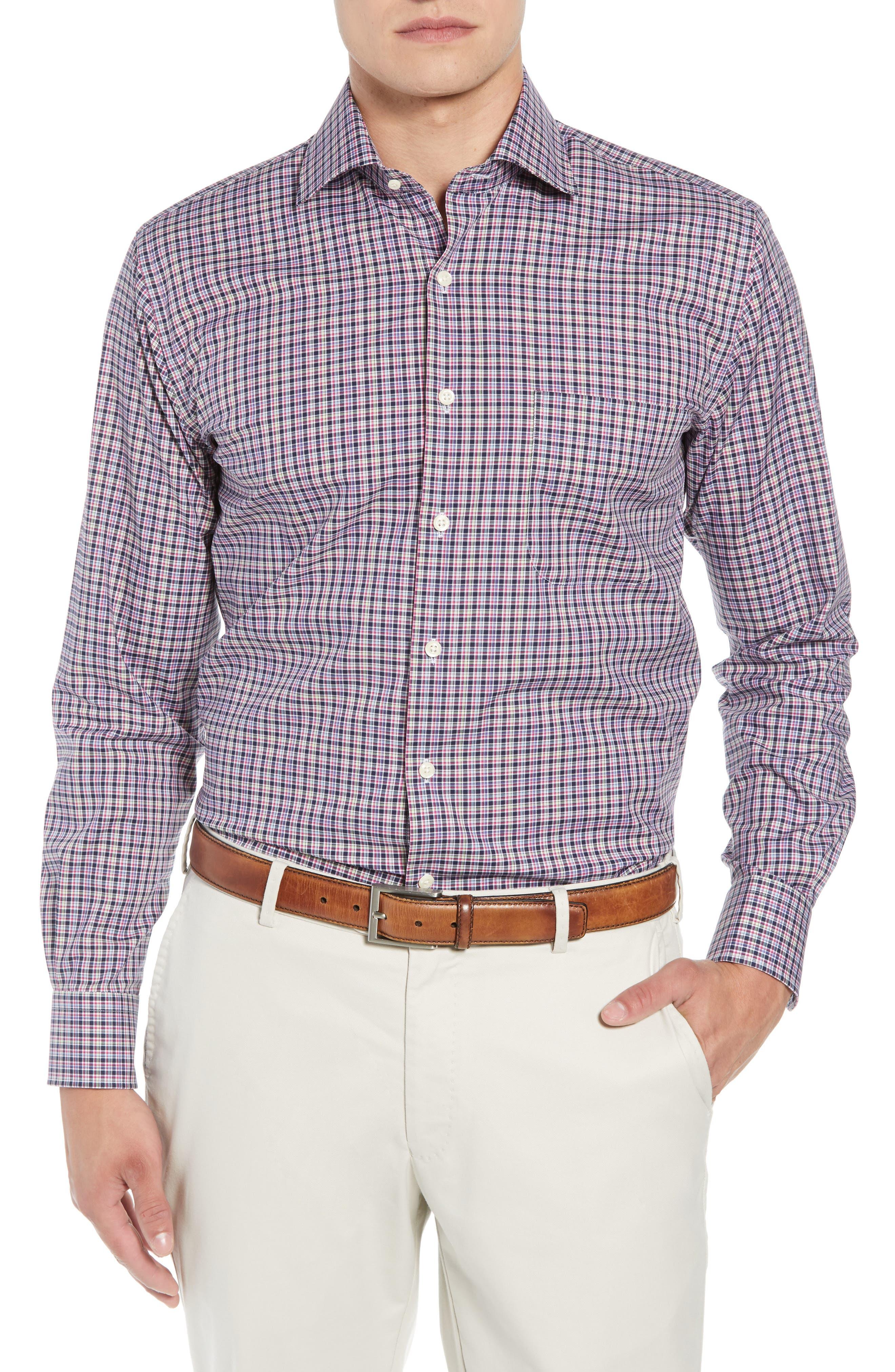 Crown Ease Triberg Regular Fit Check Sport Shirt,                             Main thumbnail 1, color,                             BLUE