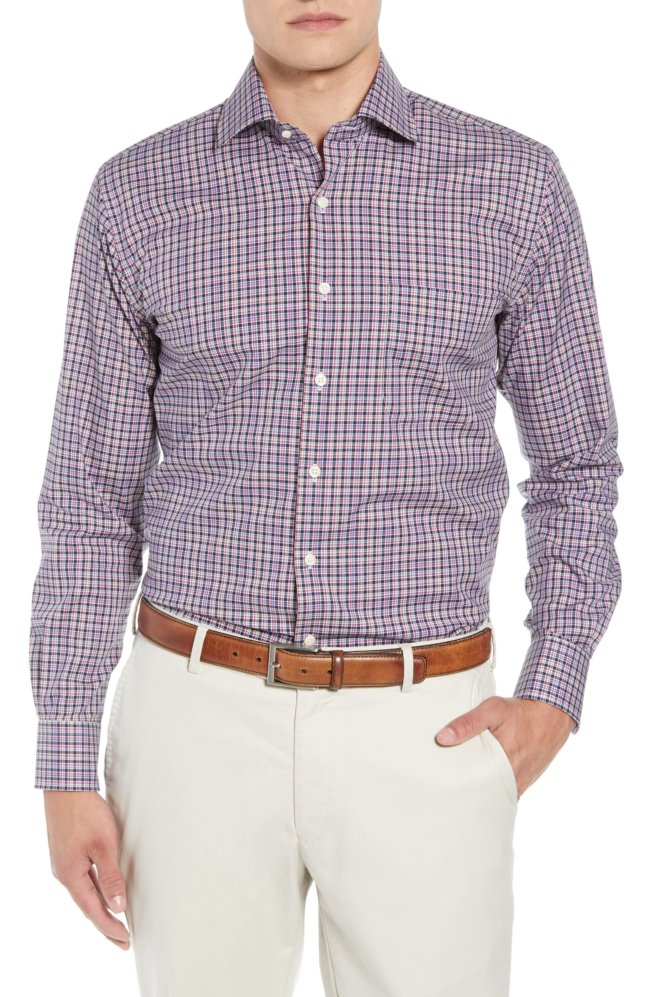 Crown Ease Triberg Regular Fit Check Sport Shirt,                         Main,                         color, BLUE
