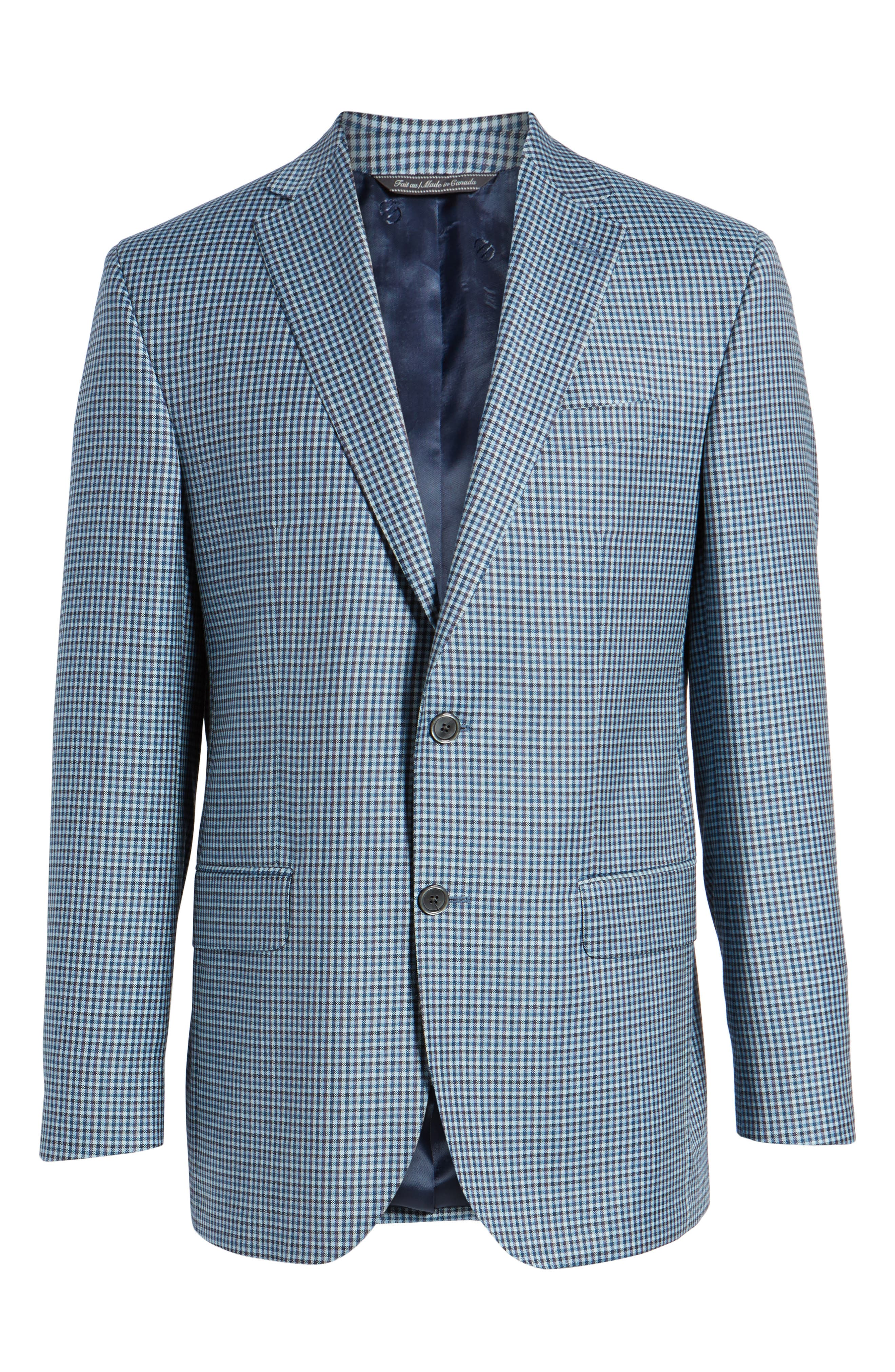 Arnold Classic Fit Check Wool Sport Coat,                             Alternate thumbnail 5, color,                             400