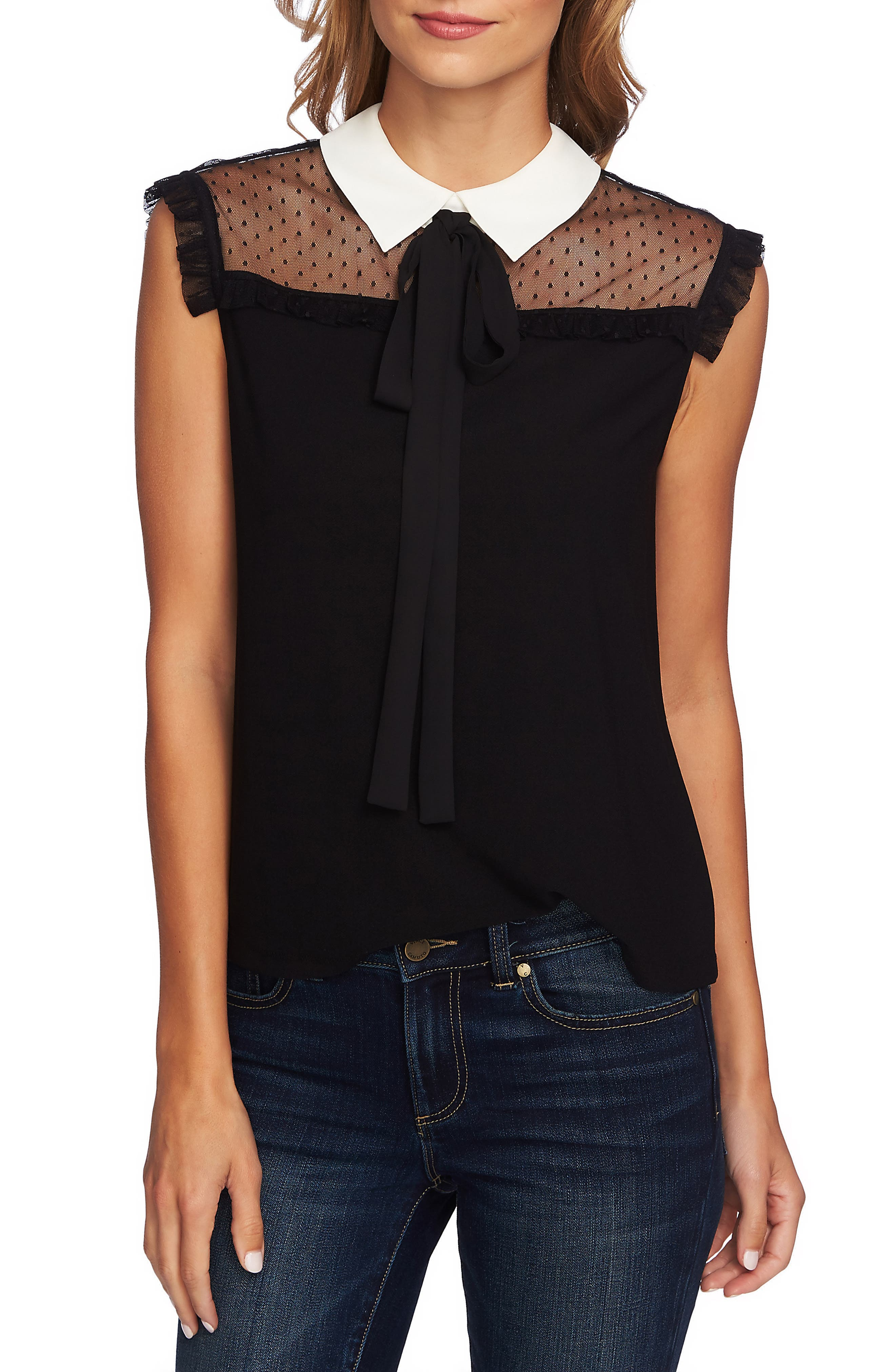 Mixed Media Tie Neck Blouse, Main, color, 006