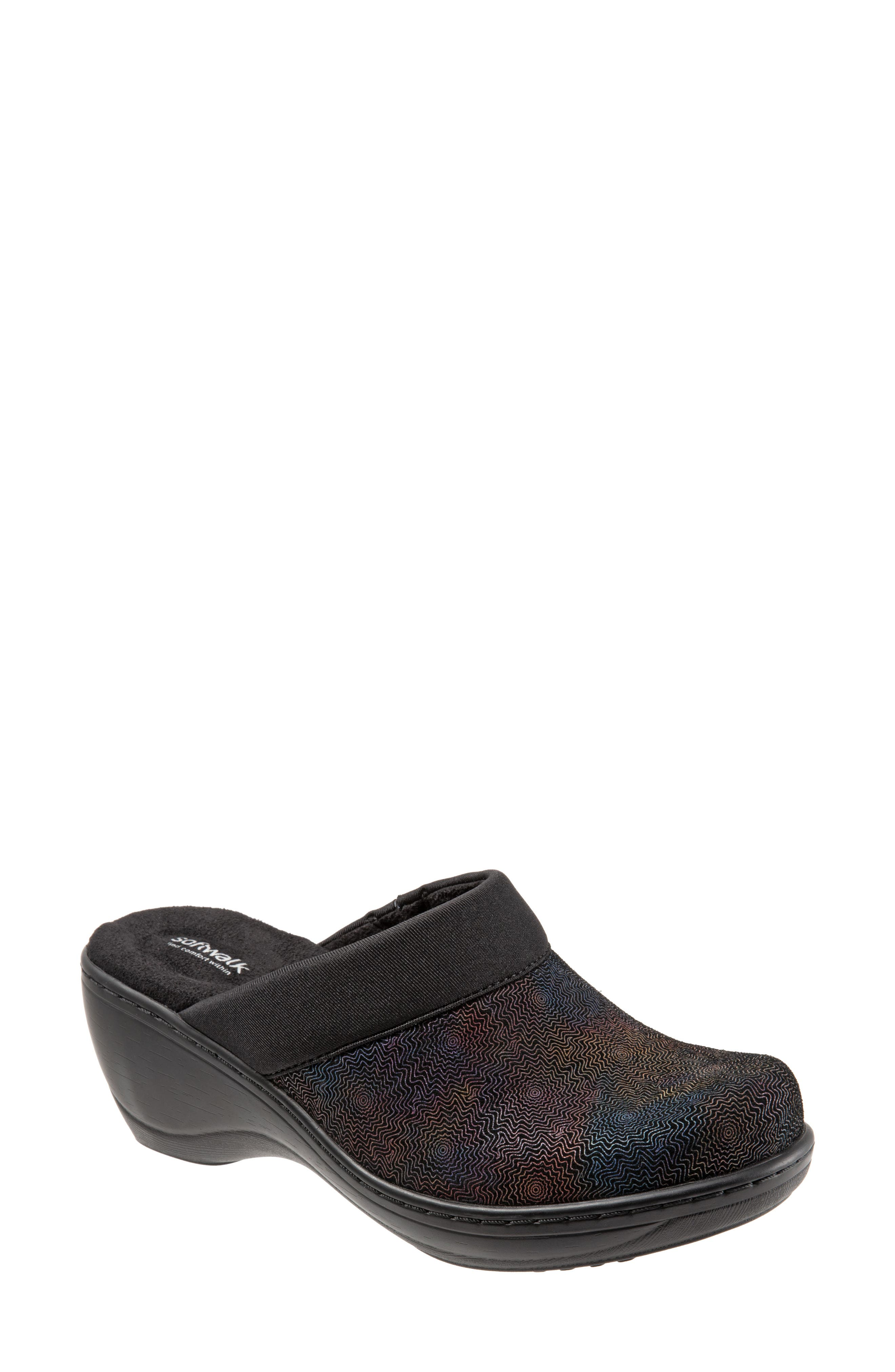 SOFTWALK<SUP>®</SUP>,                             'Murietta' Clog,                             Main thumbnail 1, color,                             BLACK MULTI LEATHER