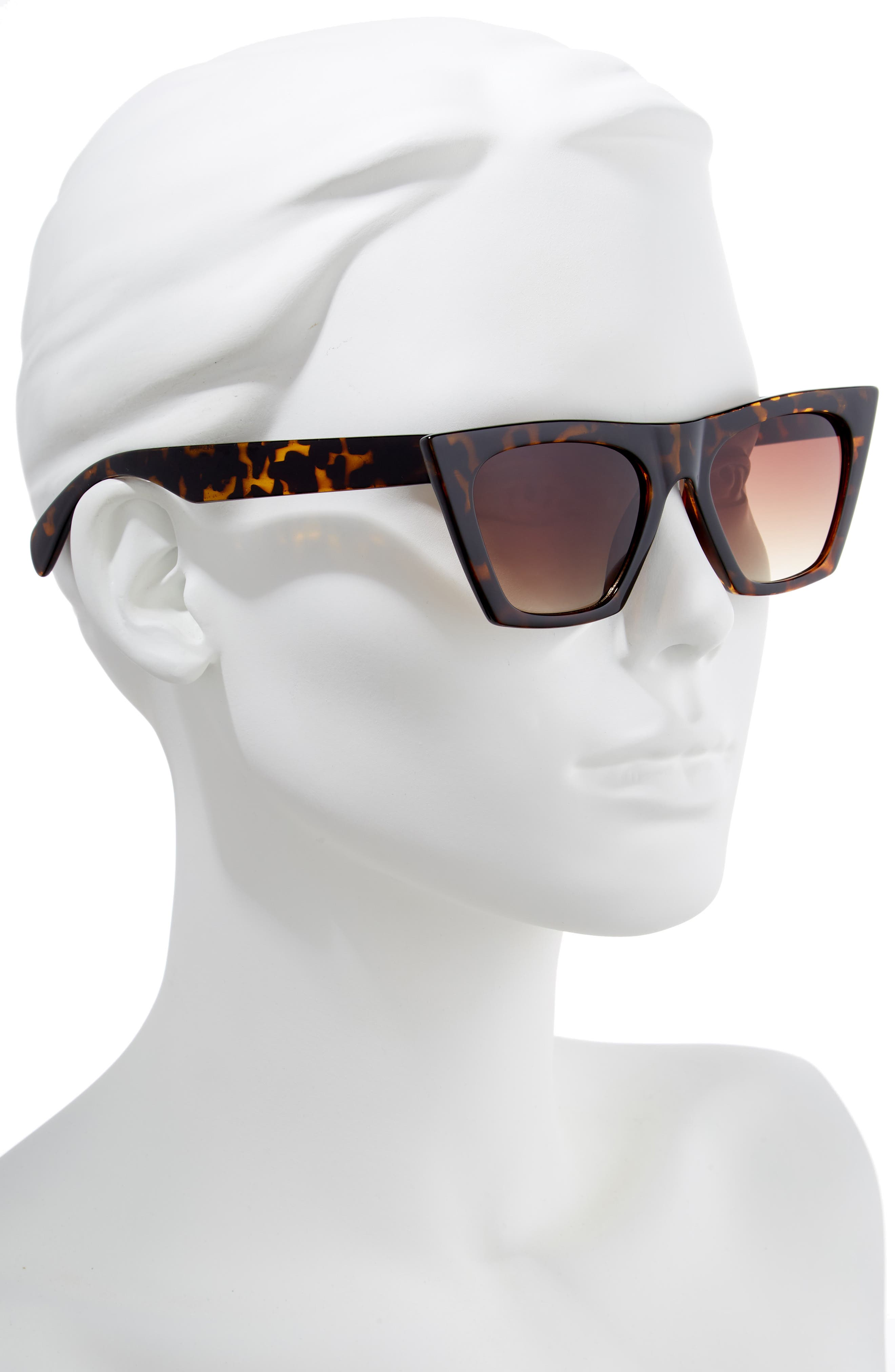 50mm Square Cat Eye Sunglasses,                             Alternate thumbnail 2, color,                             TORTOISE