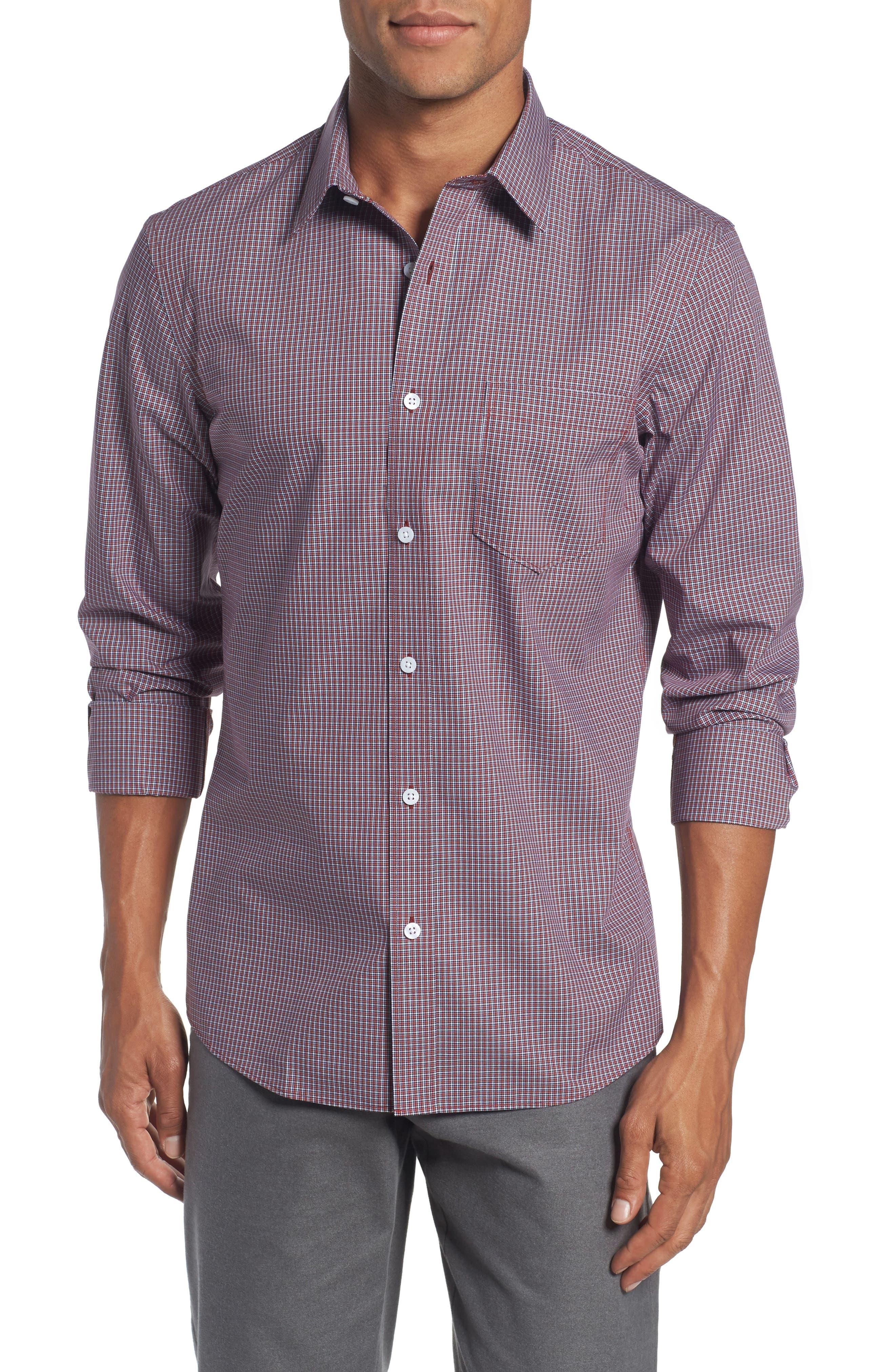 Trim Fit Non-Iron Mini Check Sport Shirt,                         Main,                         color, 610