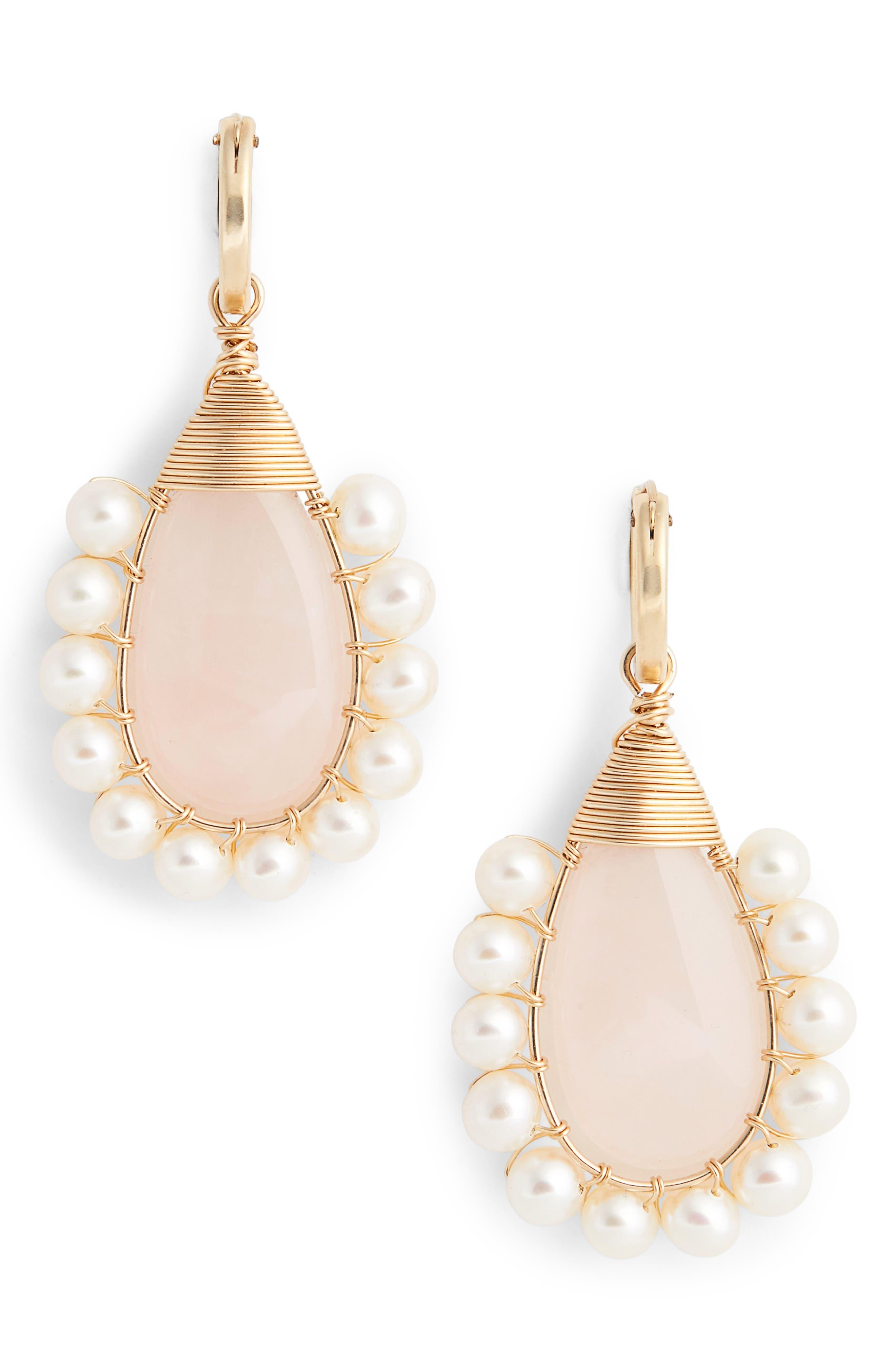 Lolita Rose Quartz & Freshwater Pearl Statement Earrings,                             Main thumbnail 1, color,                             ROSE QUARTZ