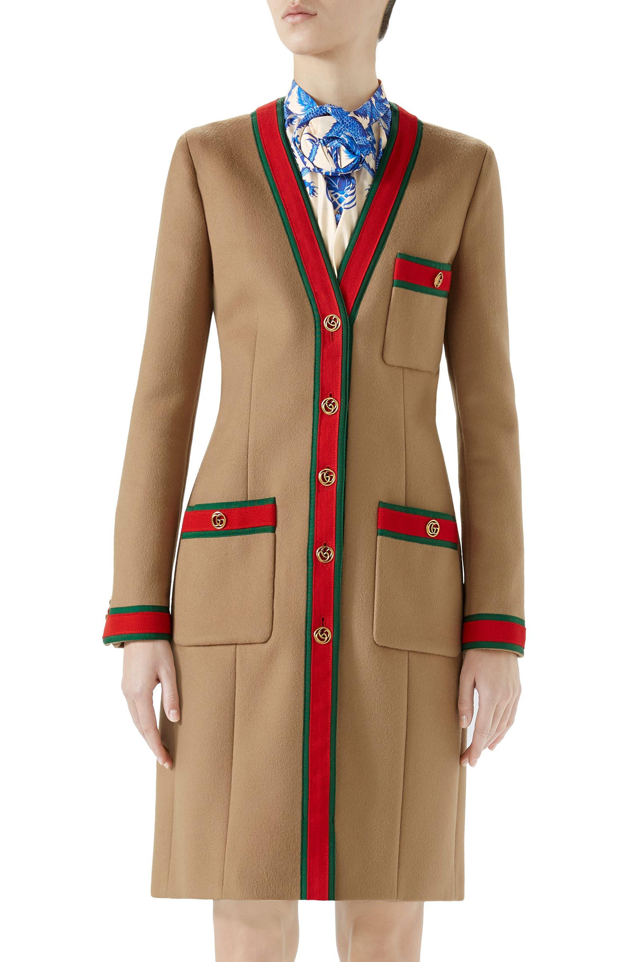 Wool Stripe Trim Coat,                             Main thumbnail 1, color,                             CAMEL