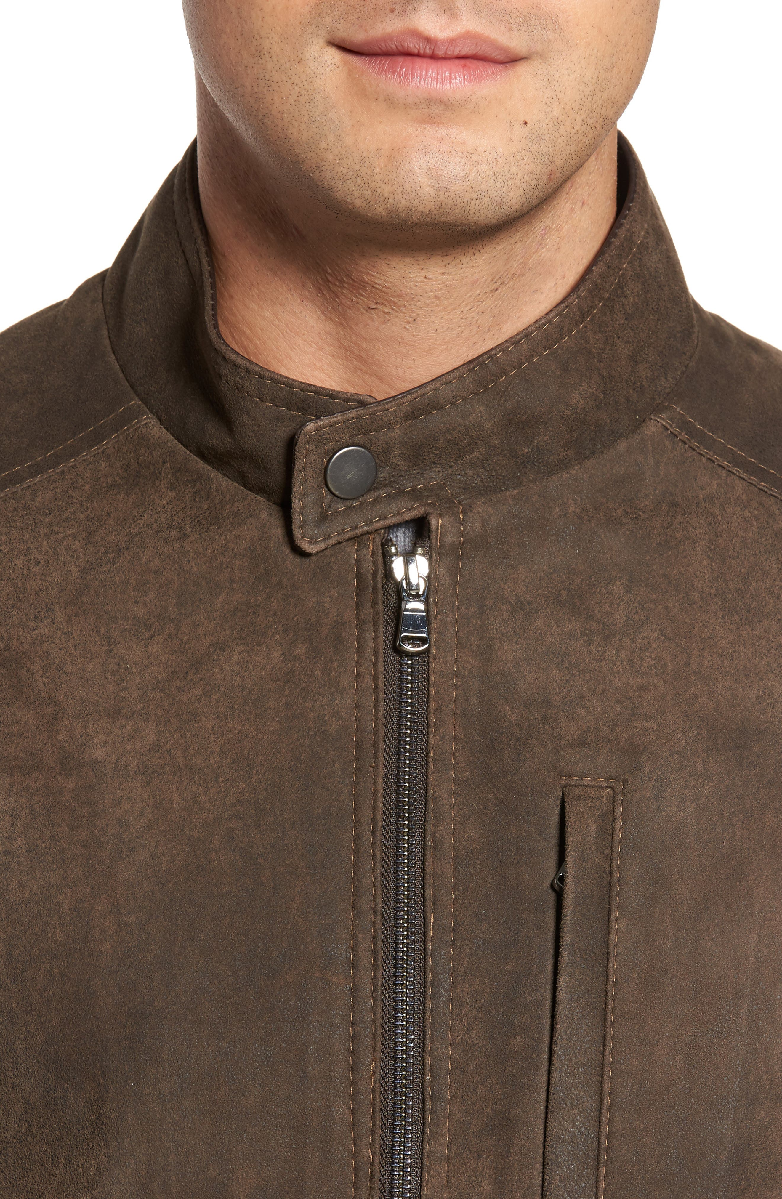 Suede Moto Jacket,                             Alternate thumbnail 4, color,                             FRONTIER/ COCOA