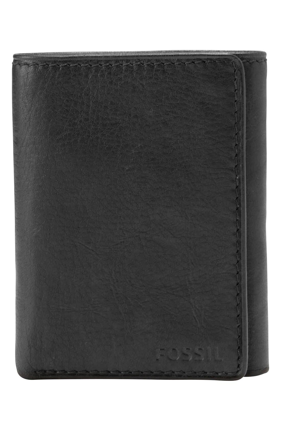 FOSSIL,                             'Ingram' Leather Trifold Wallet,                             Main thumbnail 1, color,                             001