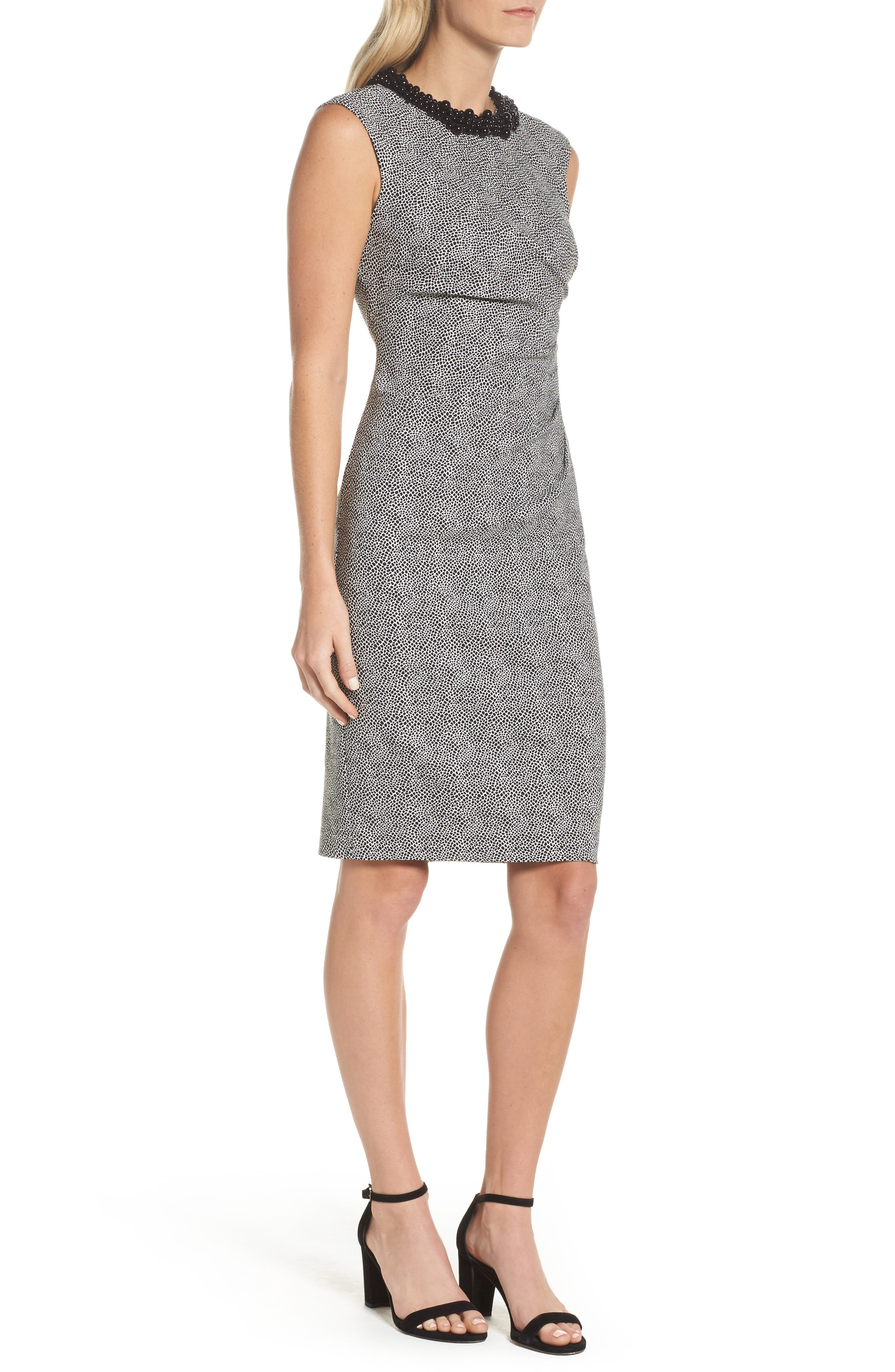Embellished Jacquard Sheath Dress,                             Alternate thumbnail 3, color,                             001