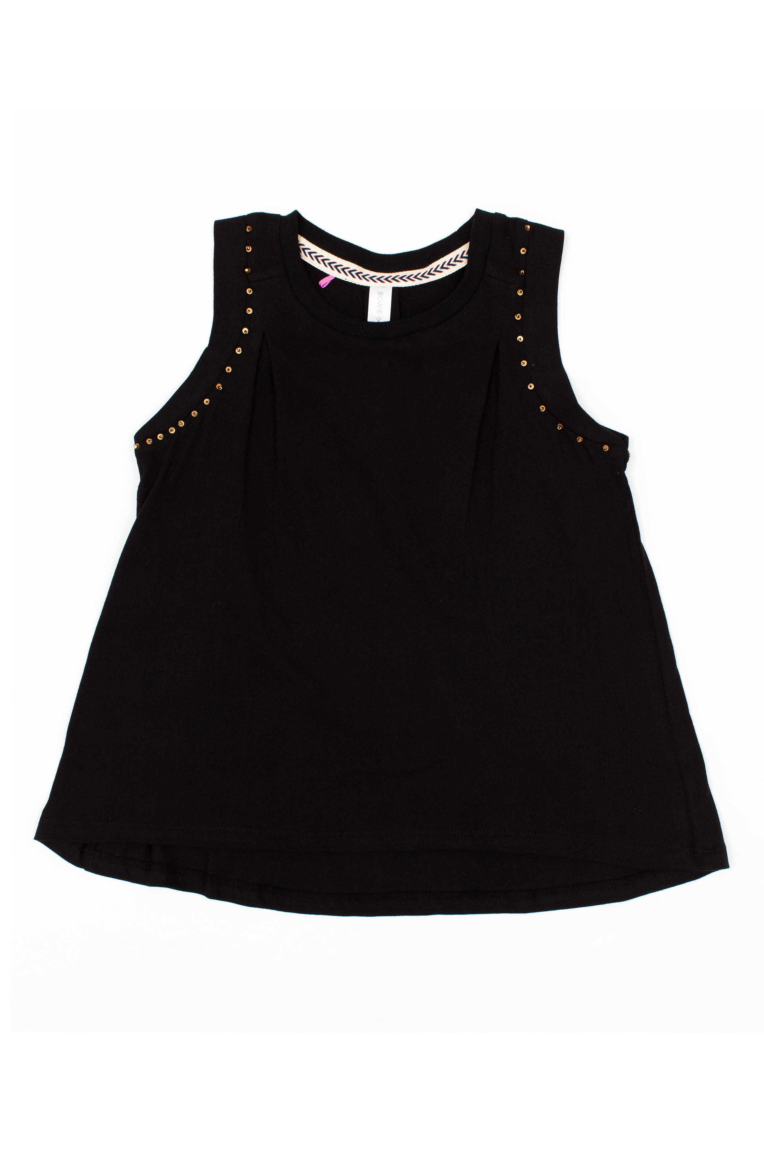 Foxy Beaded Muscle Tee,                         Main,                         color, BLACK