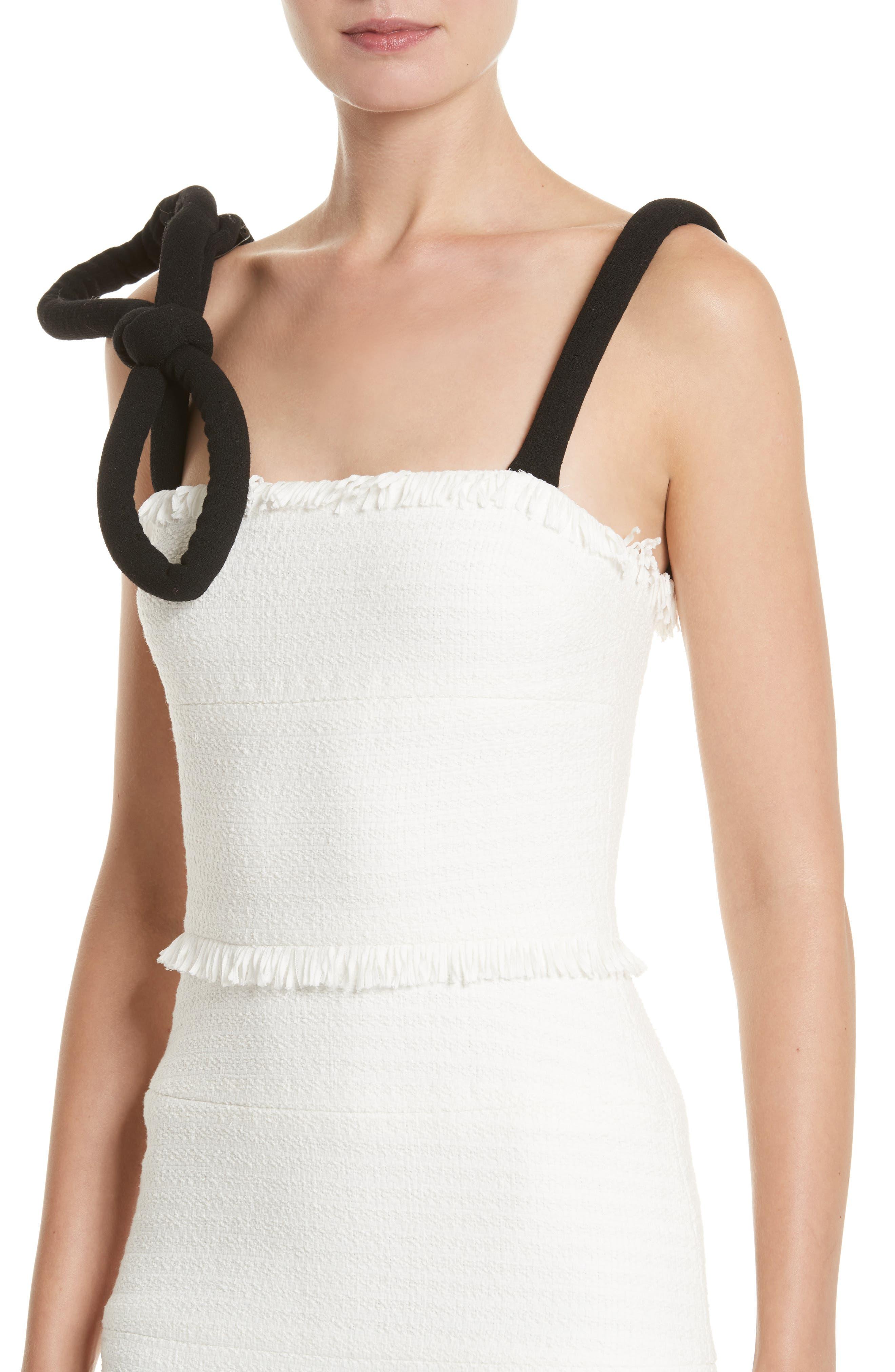Cord Strap Ribbon Tweed Dress,                             Alternate thumbnail 4, color,                             900