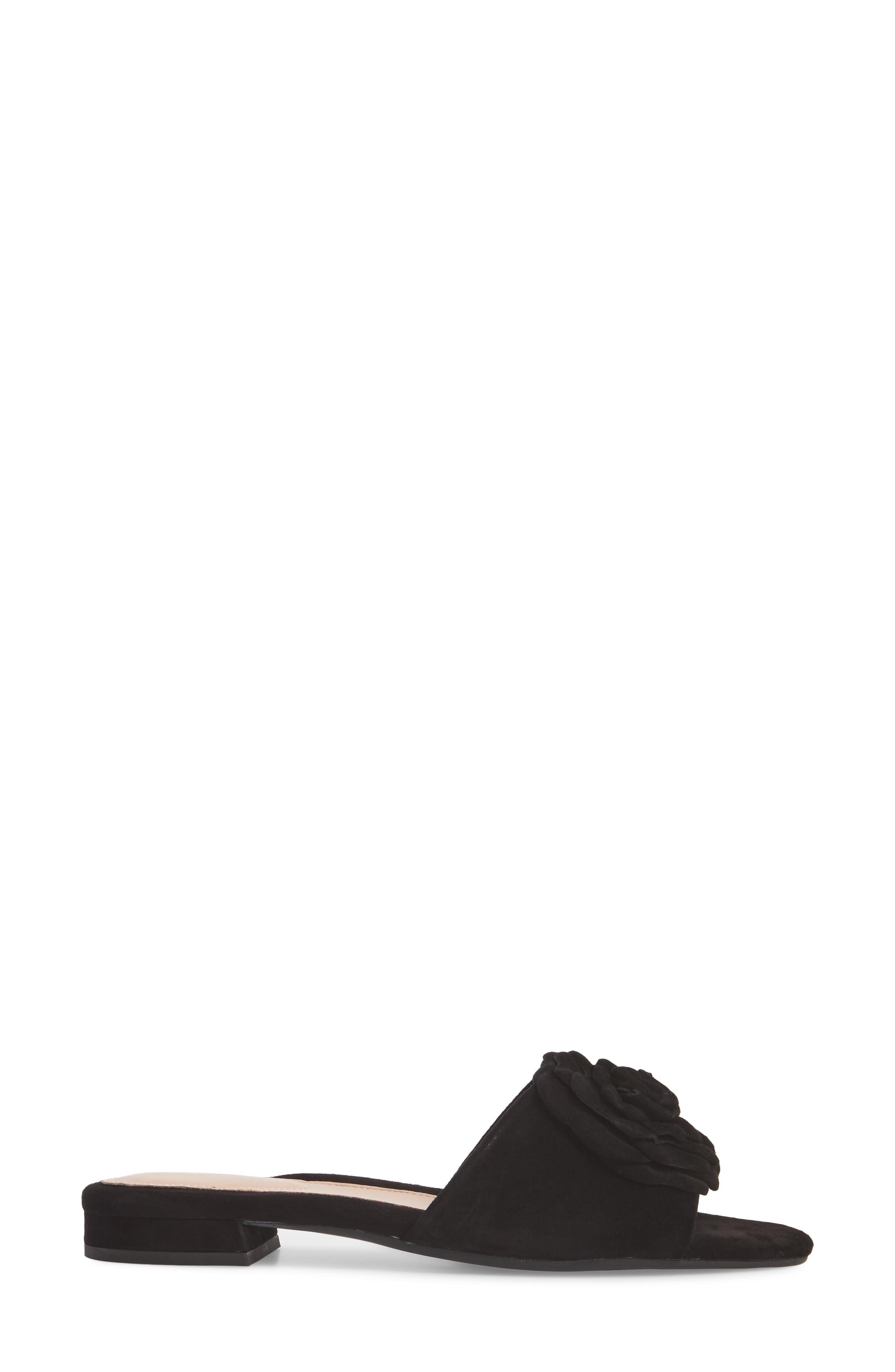 Violet Flower Slide Sandal,                             Alternate thumbnail 3, color,                             BLACK SUEDE