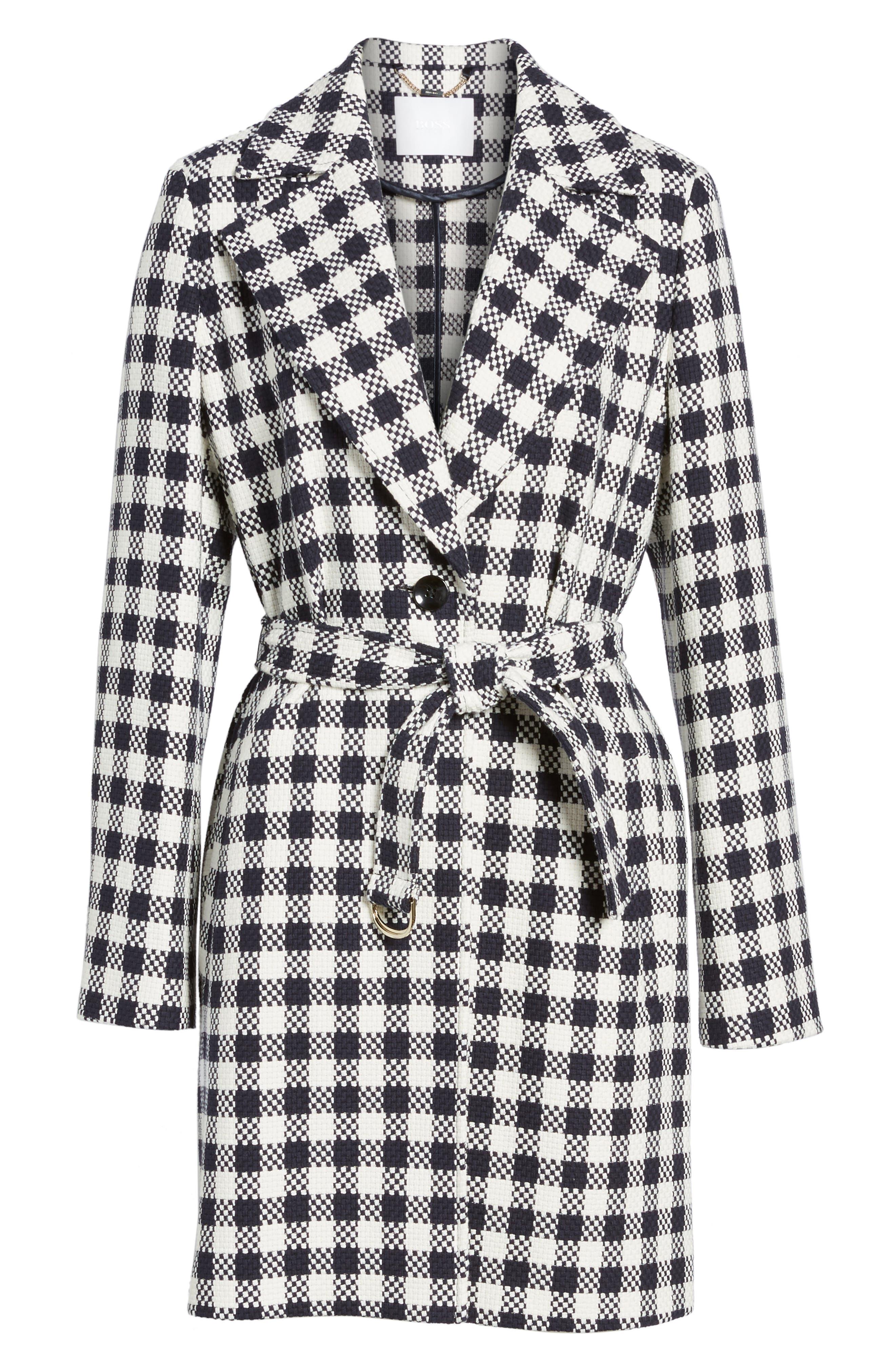 Cumarina Check Belted Check Coat,                             Alternate thumbnail 5, color,                             461