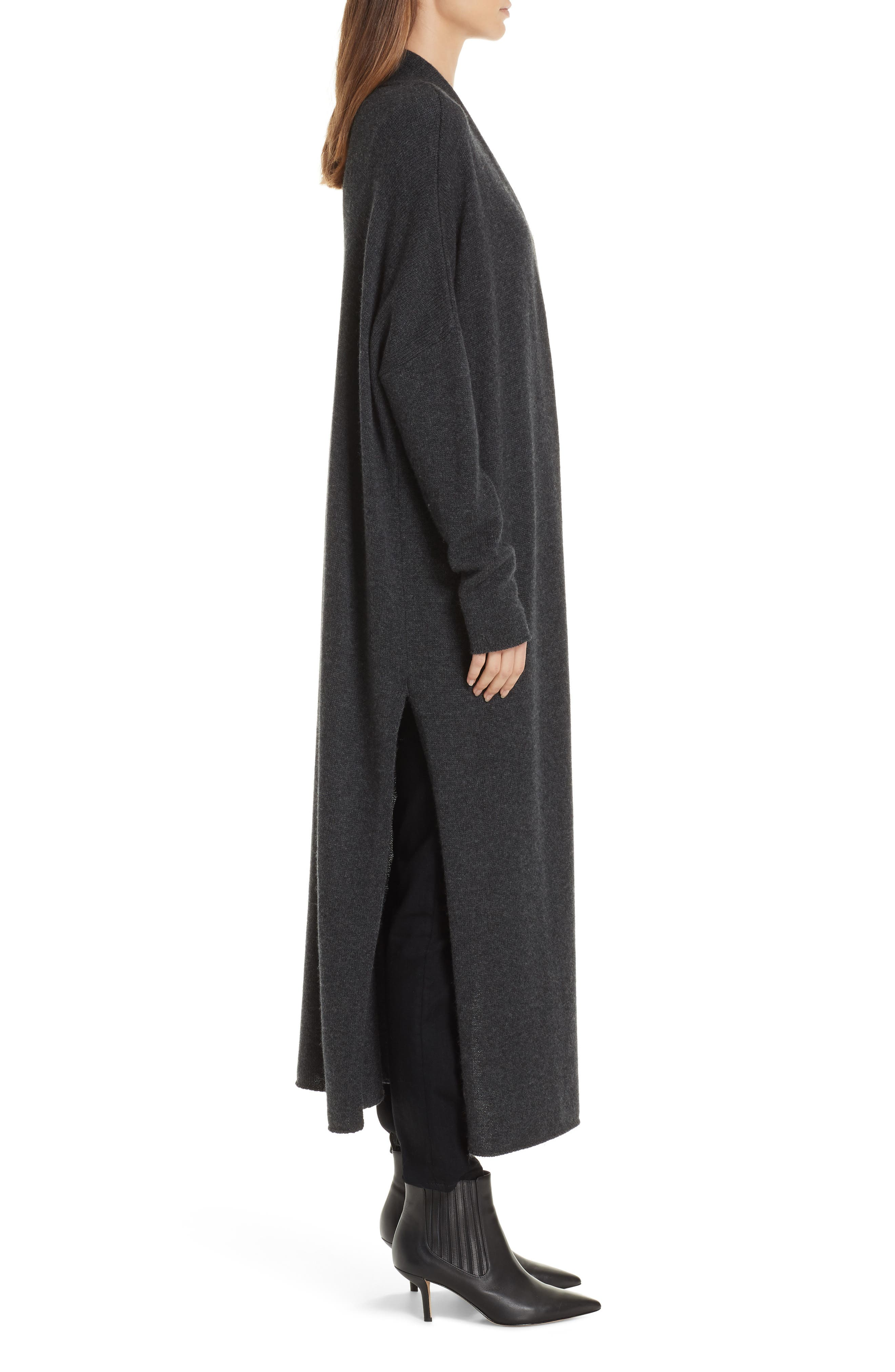 Orial Wool Cashmere Duster,                             Alternate thumbnail 3, color,                             CHARCOAL