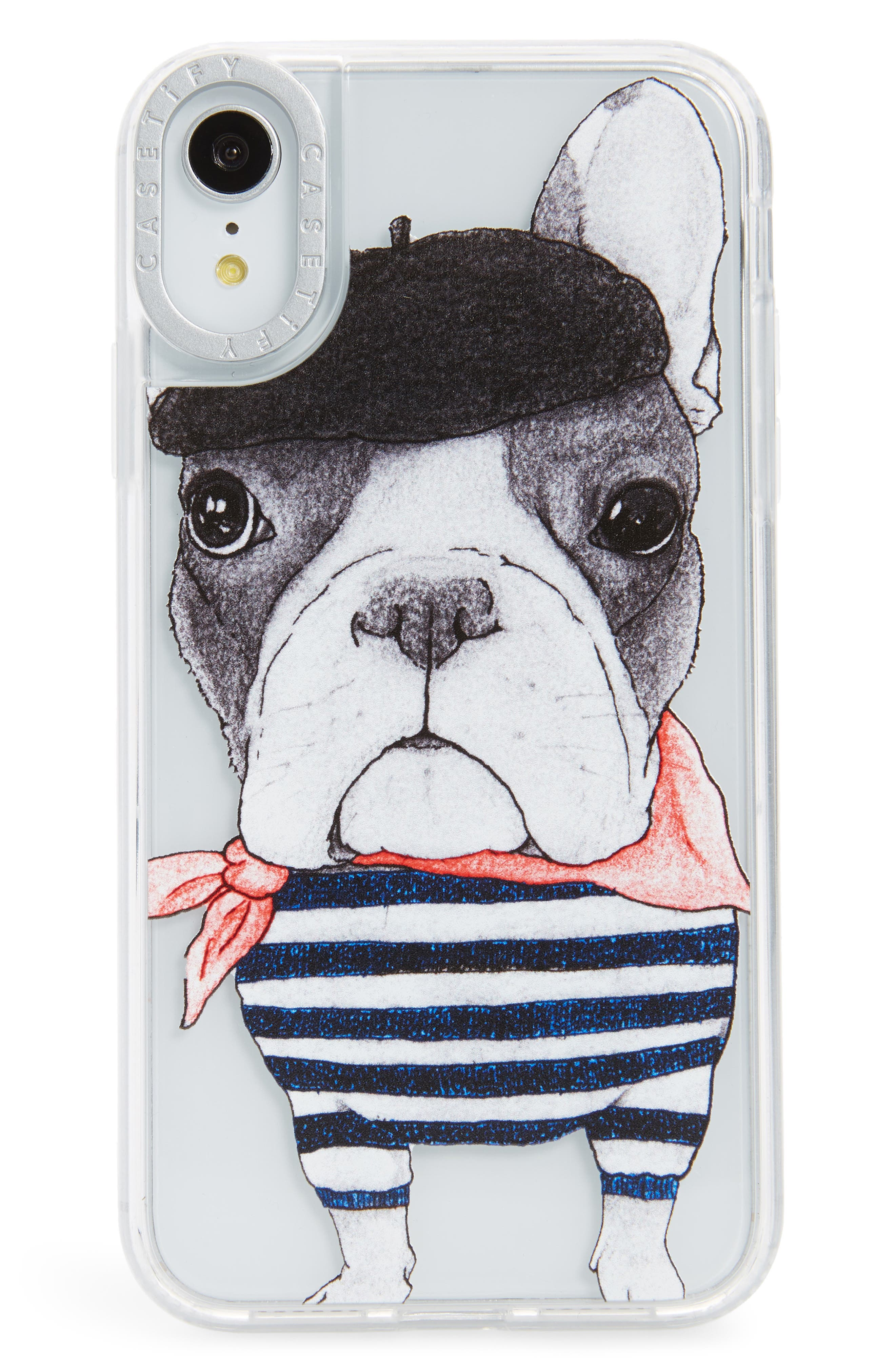 CASETIFY,                             French Bulldog Grip iPhone X/Xs, XR & X Max Case,                             Main thumbnail 1, color,                             BLACK/ WHITE/ RED