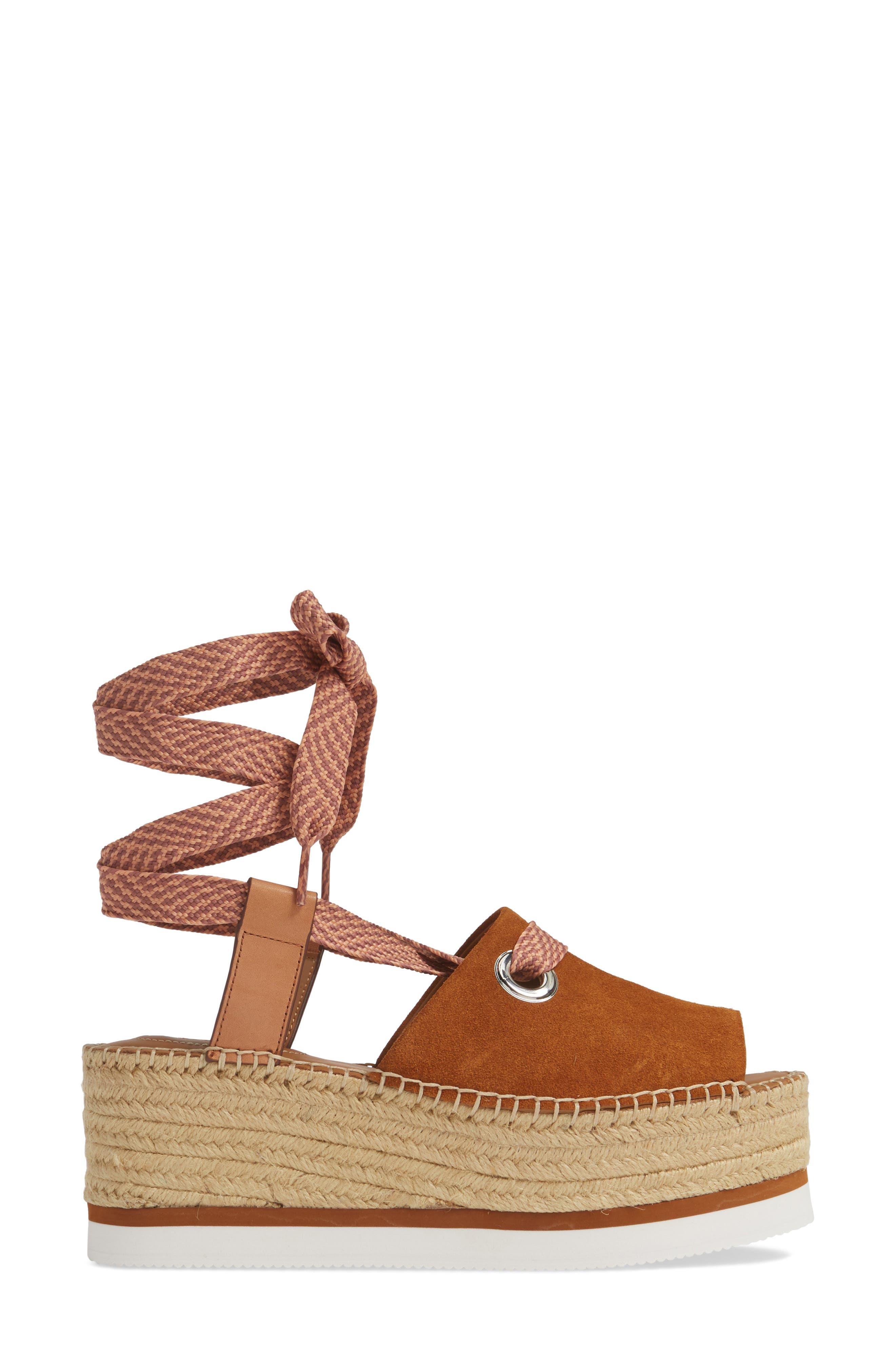 Glyn Amber Platform Ankle Wrap Sandal,                             Alternate thumbnail 3, color,                             TAN