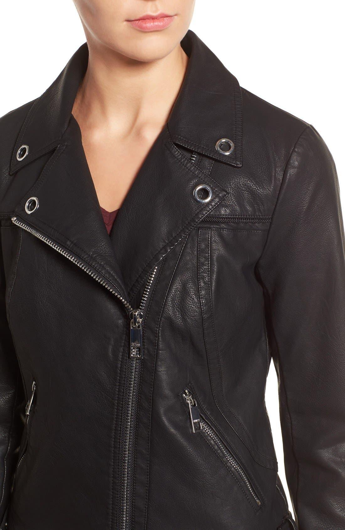 Faux Leather Moto Jacket,                             Alternate thumbnail 5, color,
