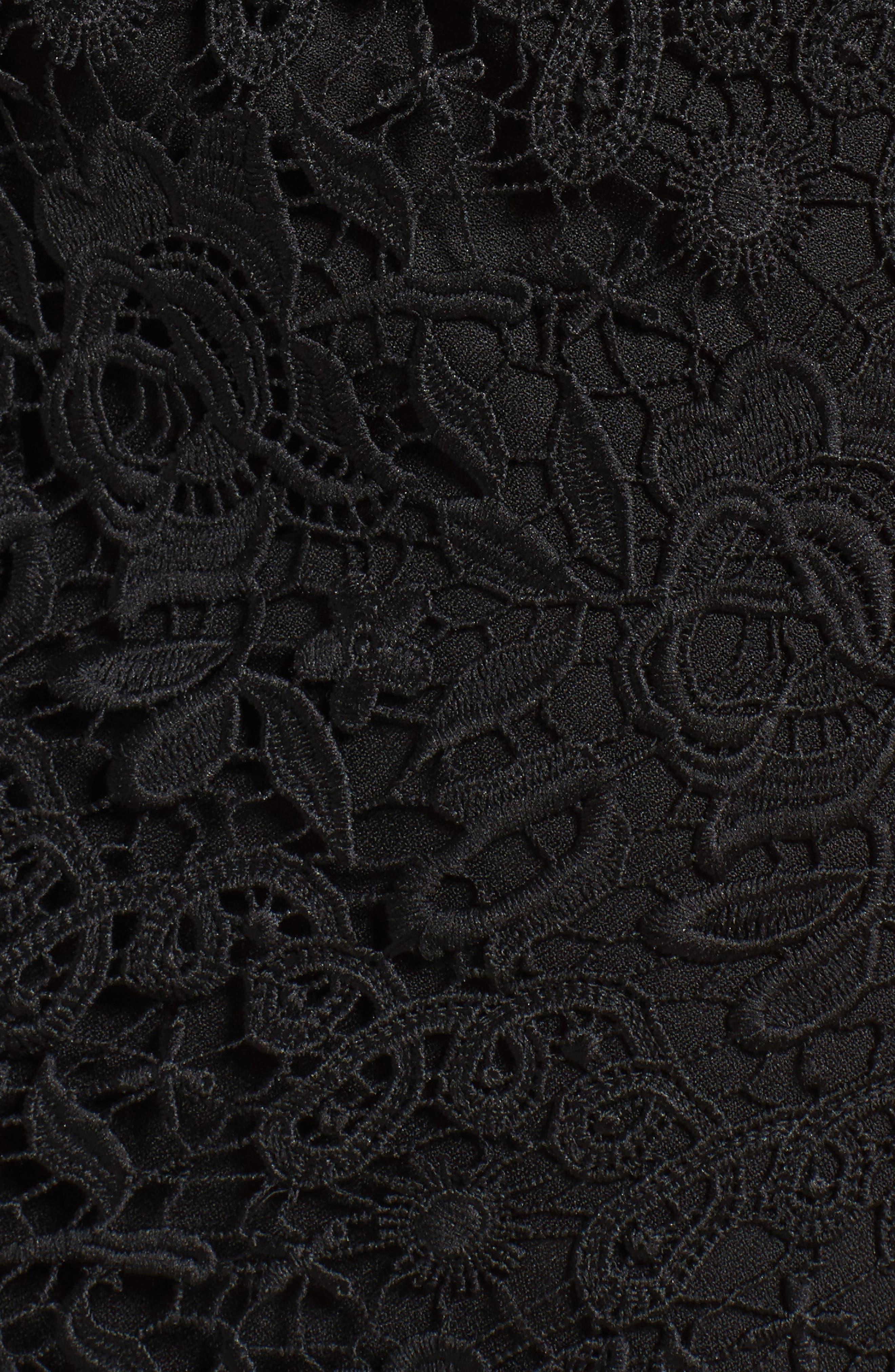 Krista Cold Shoulder Lace Sheath Dress,                             Alternate thumbnail 5, color,                             001