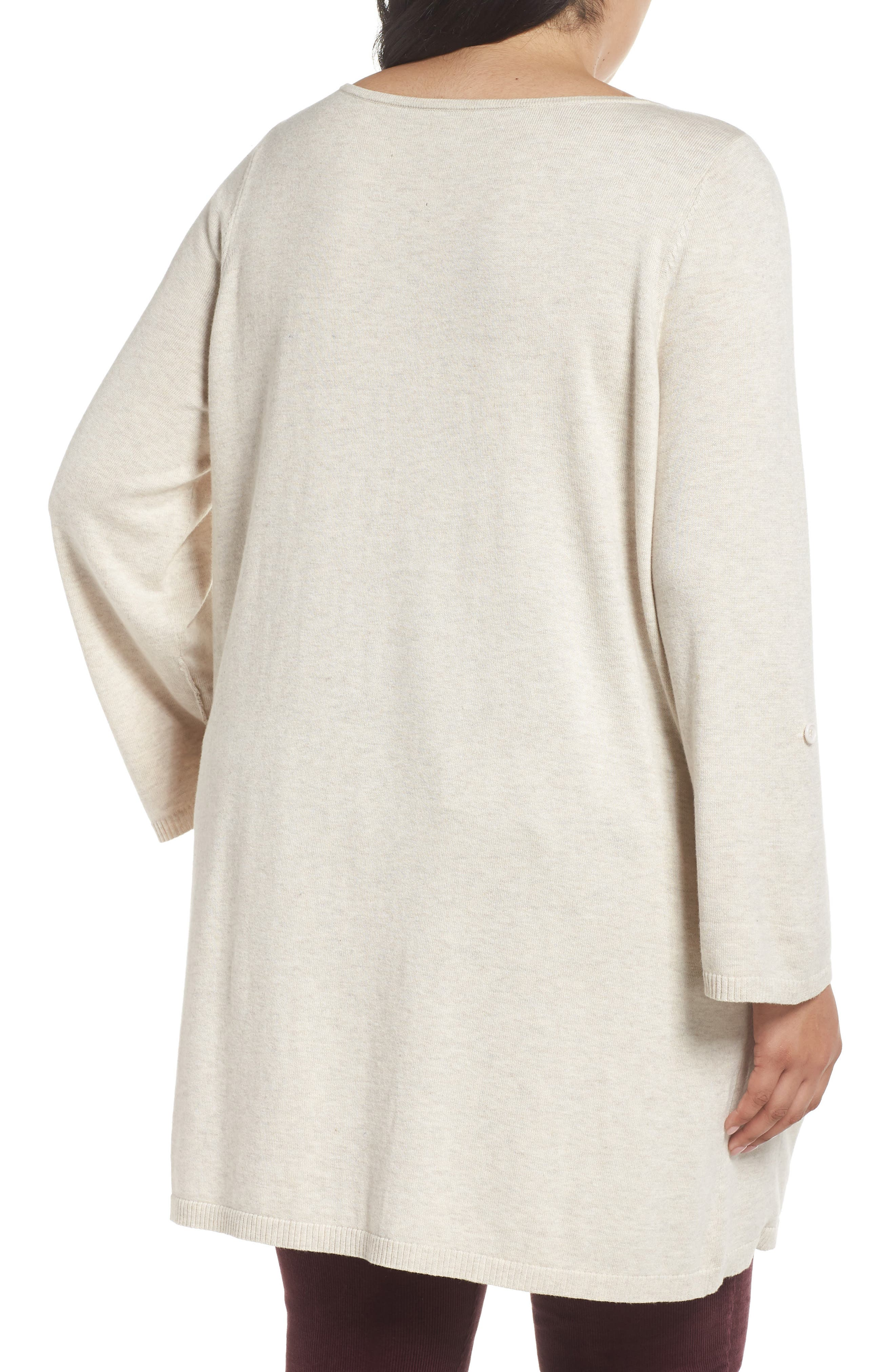 CASLON<SUP>®</SUP>,                             Roll Sleeve Tunic Sweater,                             Alternate thumbnail 2, color,                             BEIGE OATMEAL LIGHT HEATHER