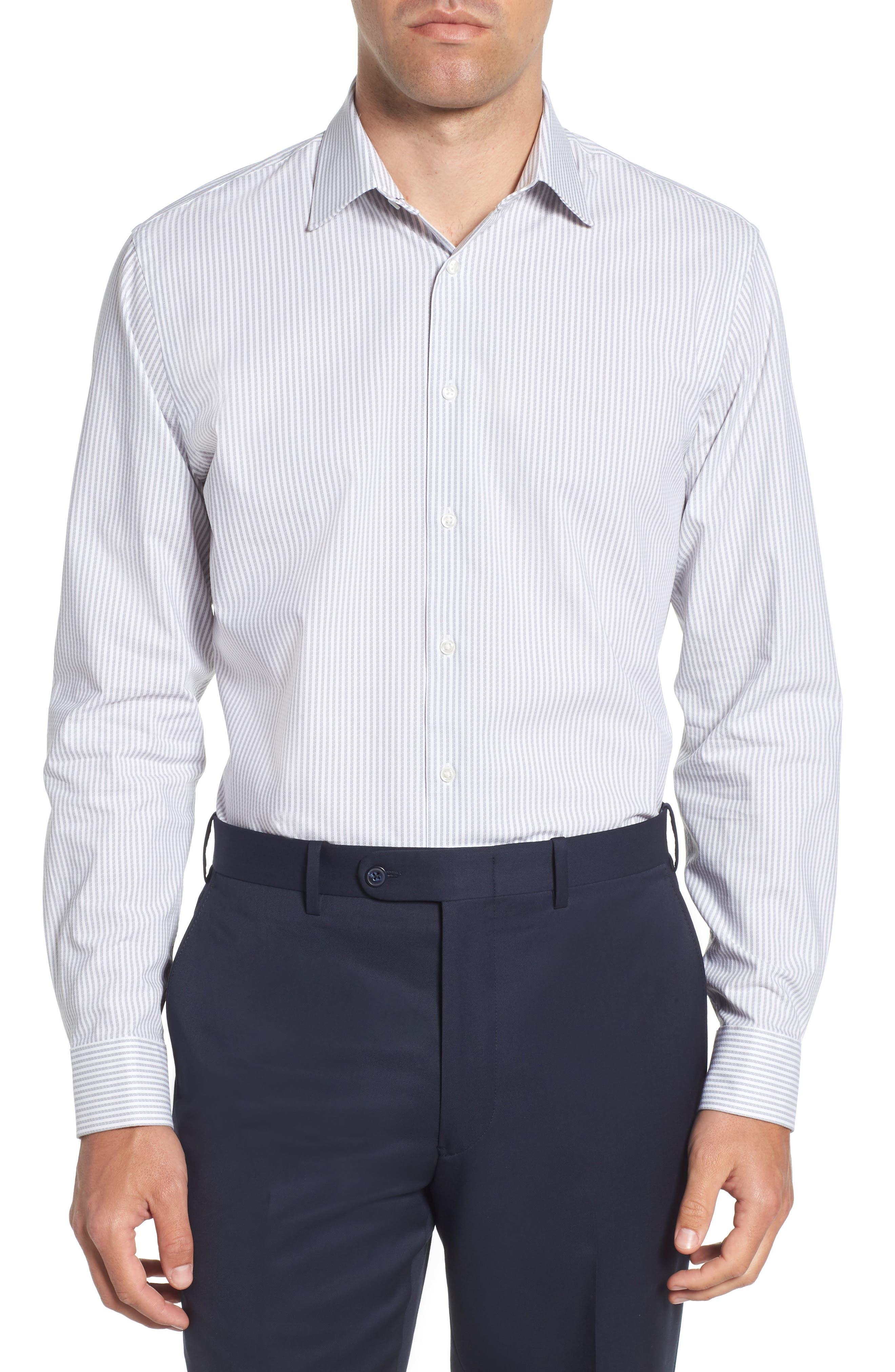 Tech-Smart Trim Fit Stripe Stretch Dress Shirt,                             Main thumbnail 1, color,                             050