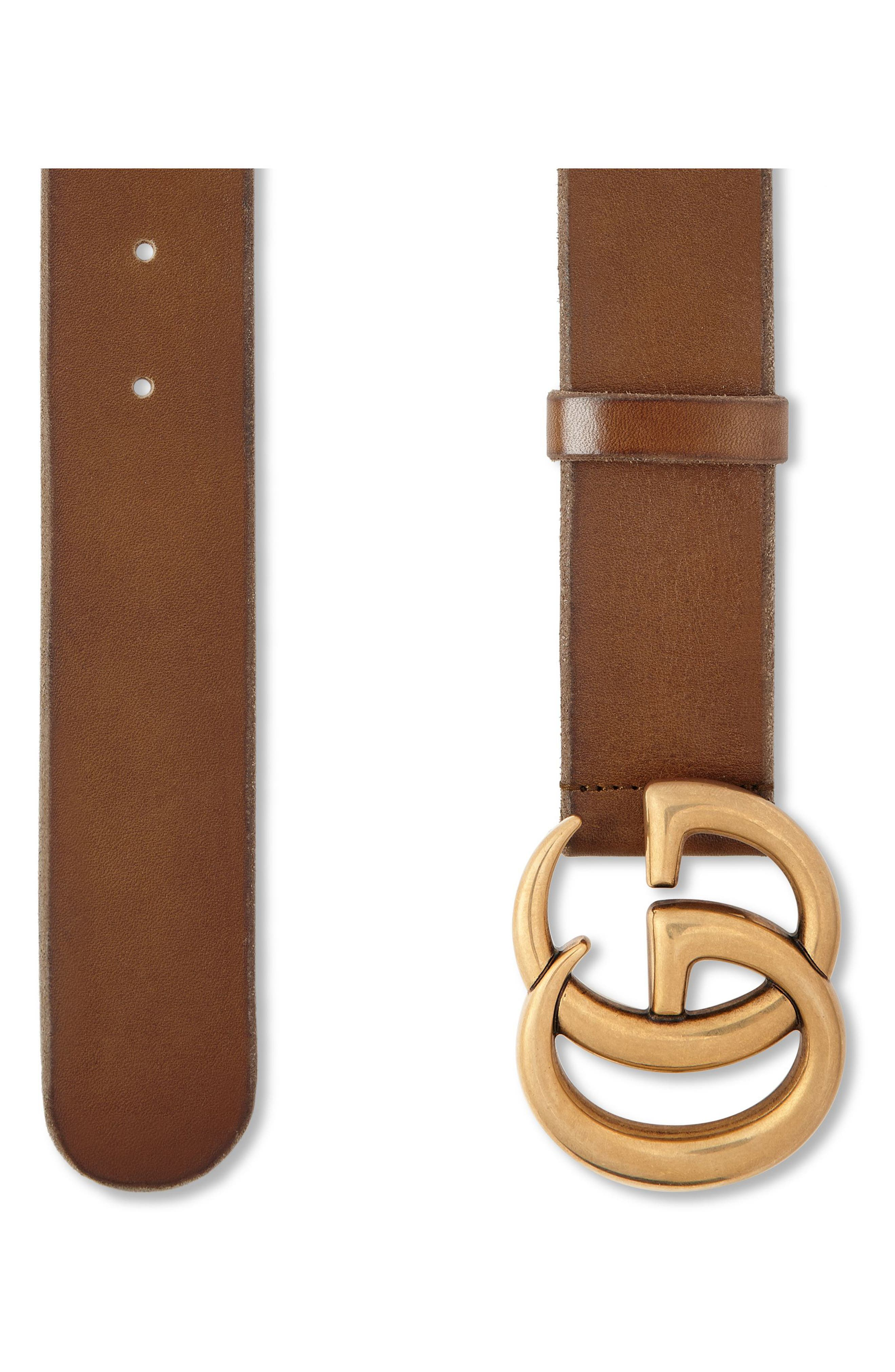 GUCCI,                             Logo Leather Belt,                             Alternate thumbnail 2, color,                             CUIR