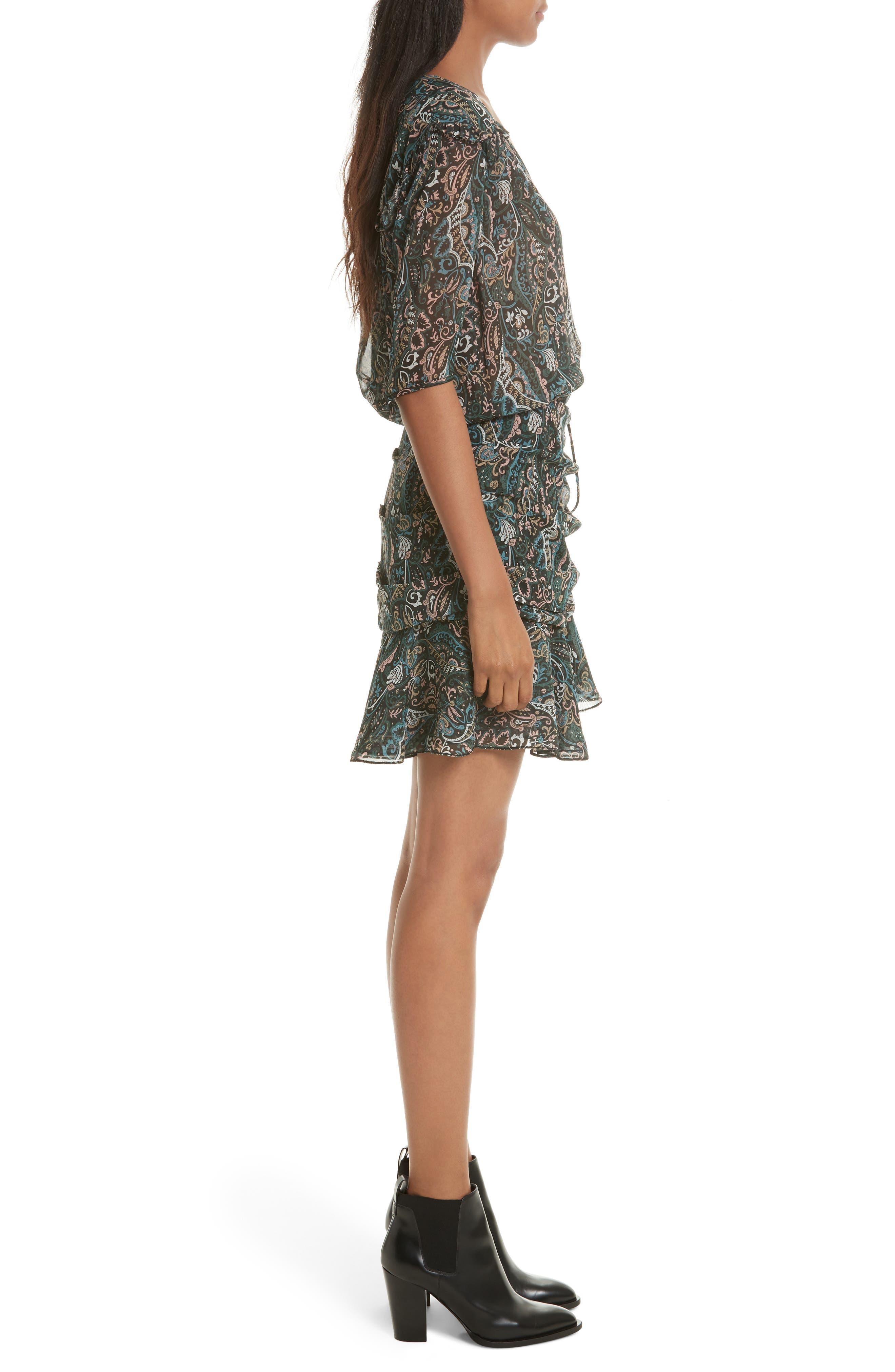 Retro Paisley Print Flounce Silk Dress,                             Alternate thumbnail 3, color,