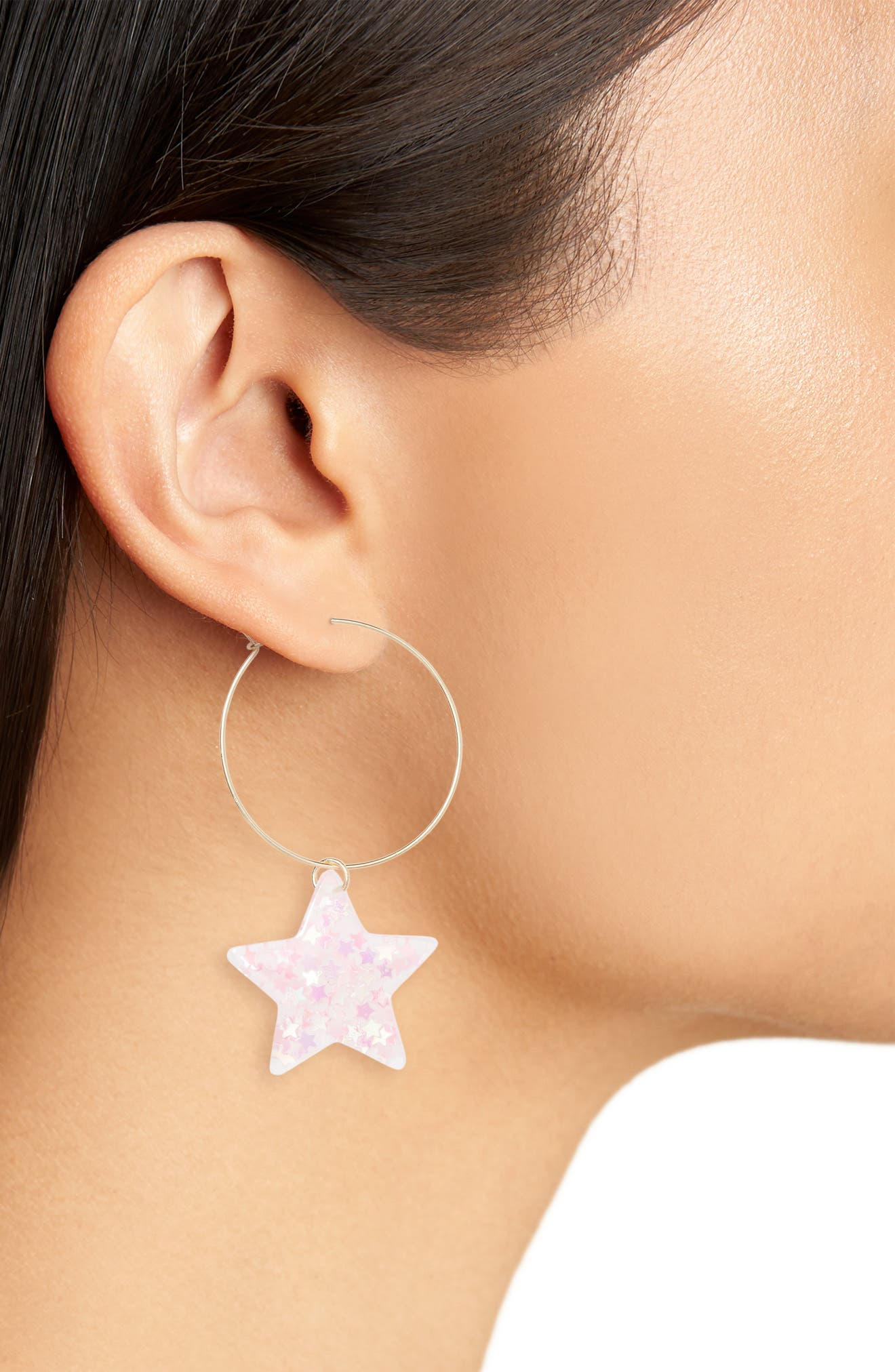 Small Glitter Star Hoop Earrings,                             Alternate thumbnail 2, color,                             650