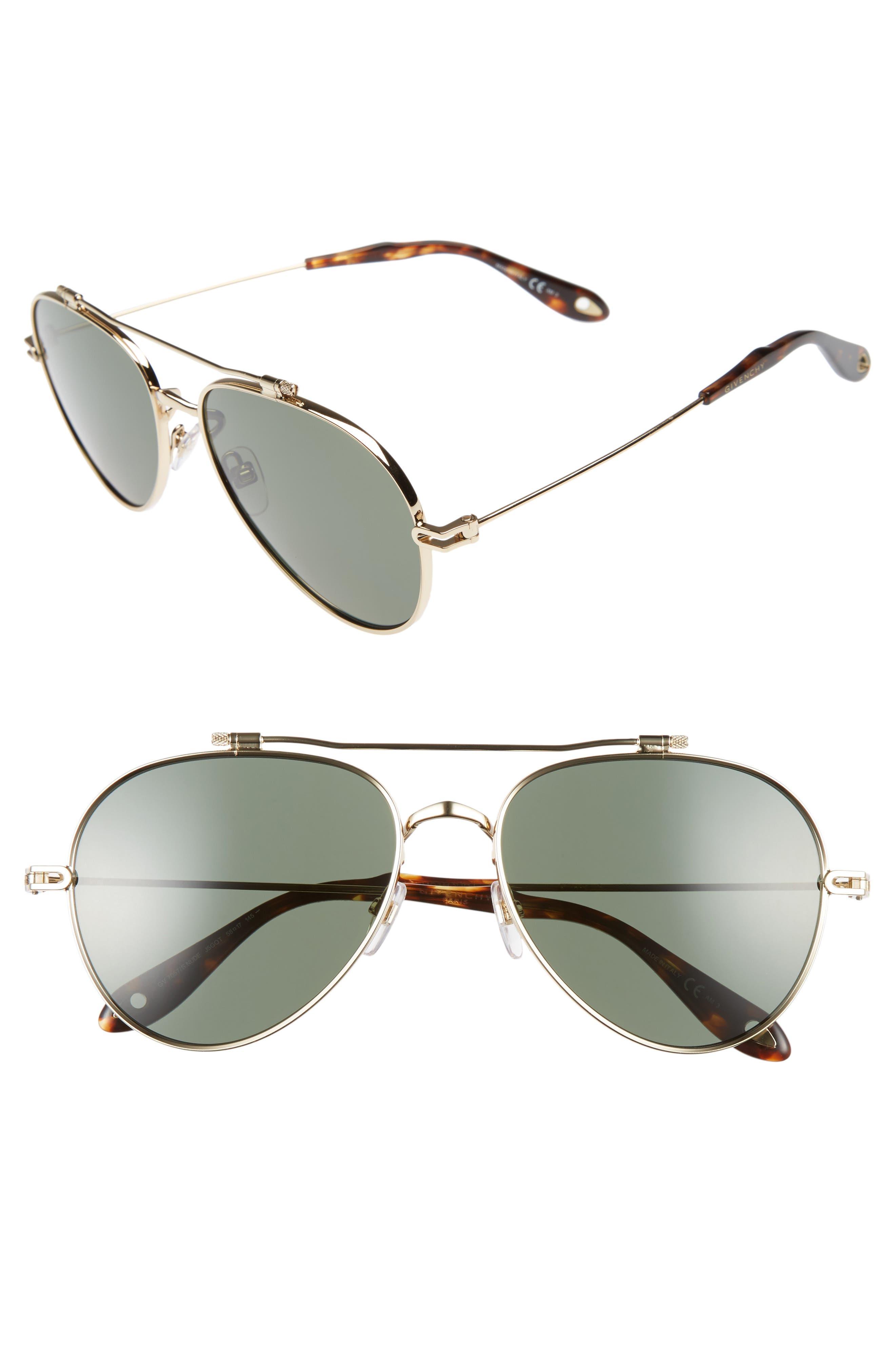 58mm Polarized Aviator Sunglasses,                             Main thumbnail 1, color,                             GOLD