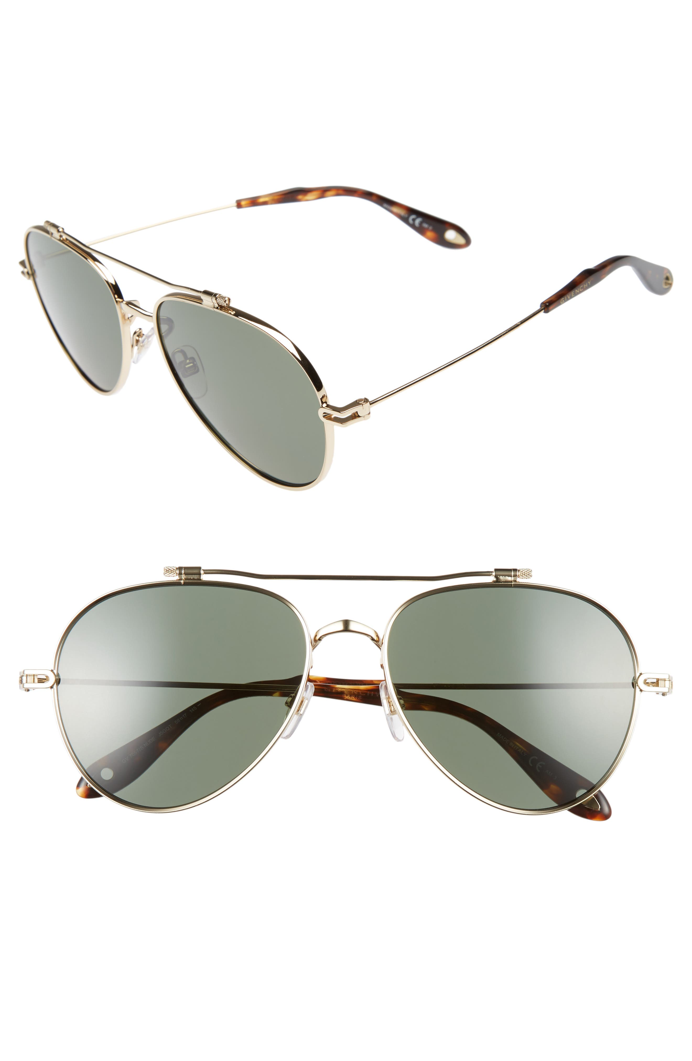 58mm Polarized Aviator Sunglasses,                         Main,                         color, GOLD