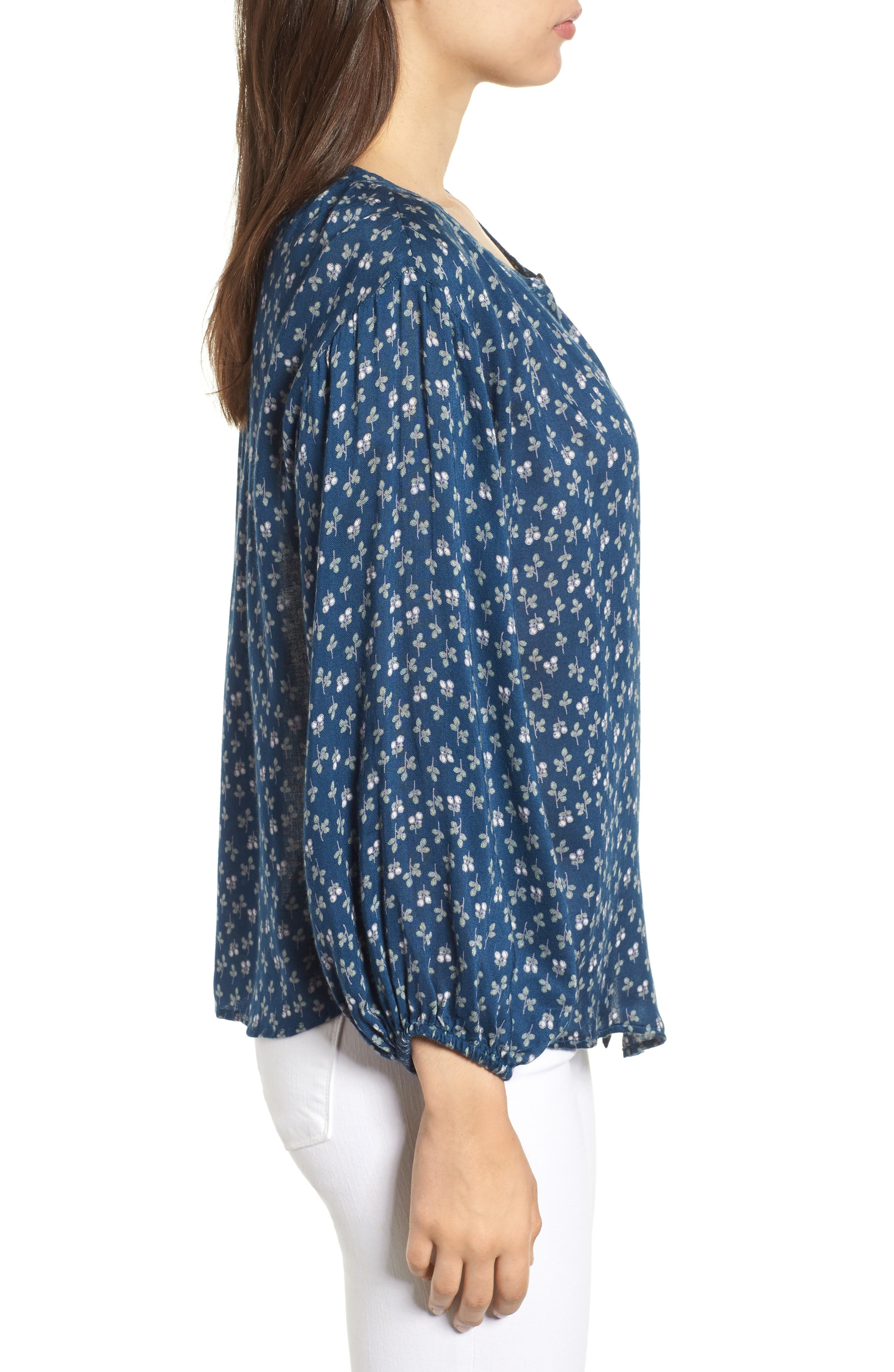 Printed Gauze Peasant Blouse,                             Alternate thumbnail 3, color,                             BLUE SPRUCE