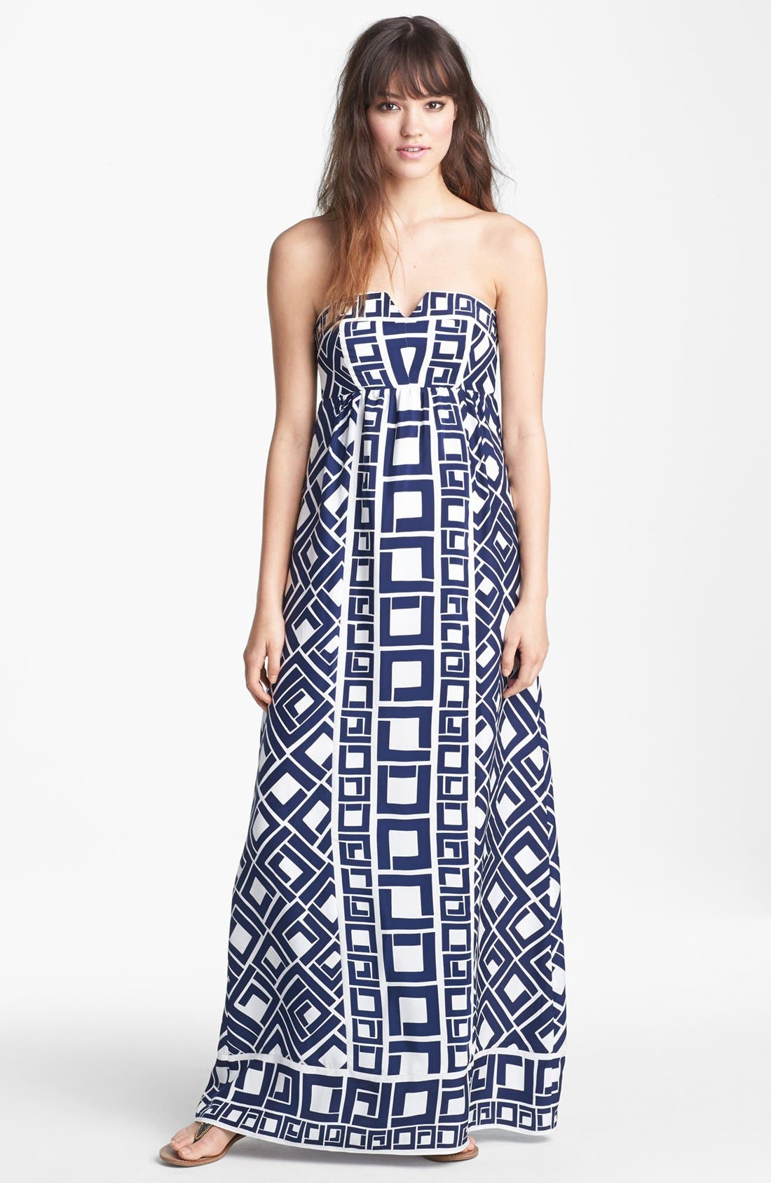'Fontaine' Print Silk Maxi Dress, Main, color, 410