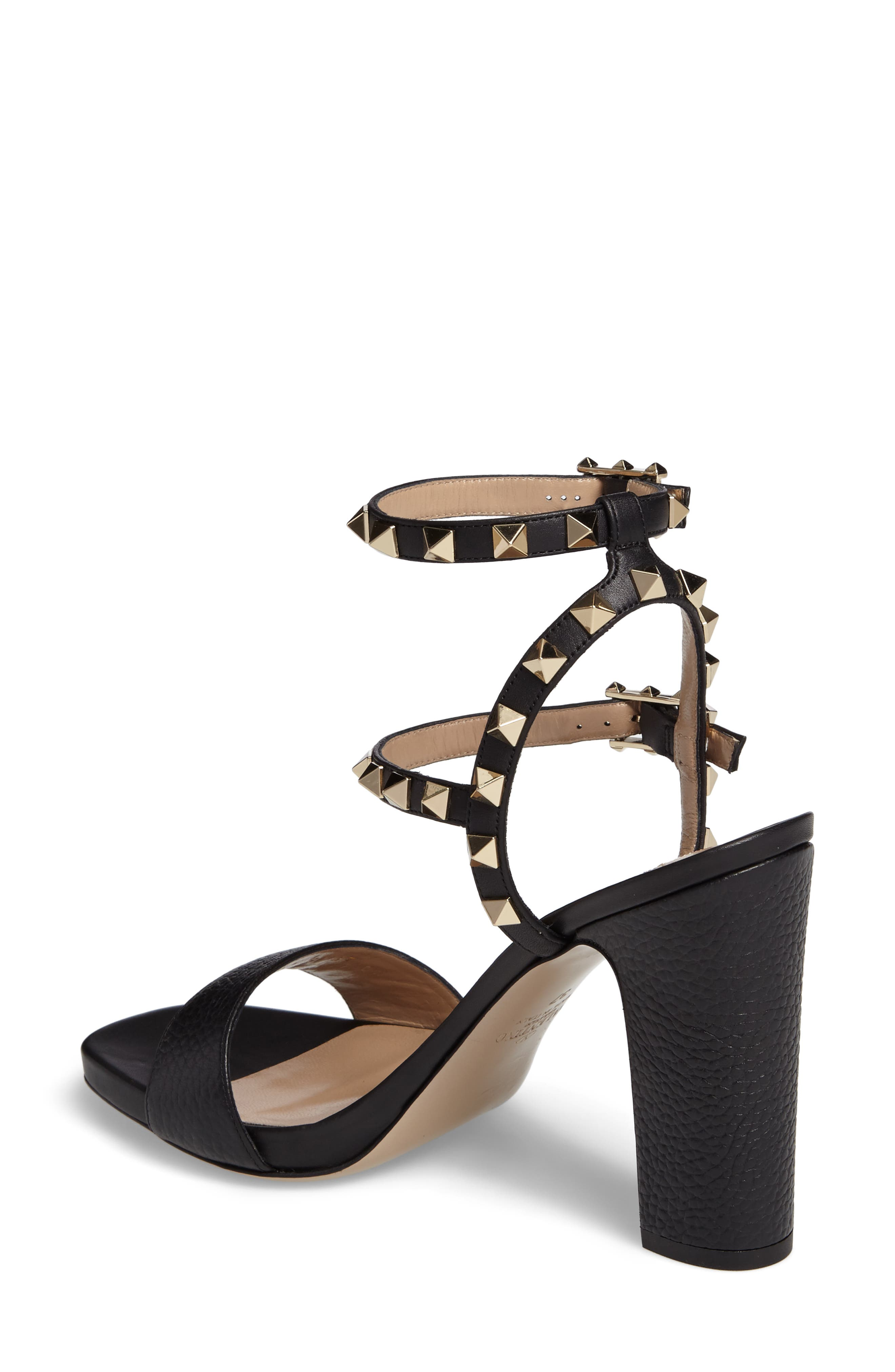 Rockstud Ankle Strap Sandal,                             Alternate thumbnail 2, color,                             BLACK