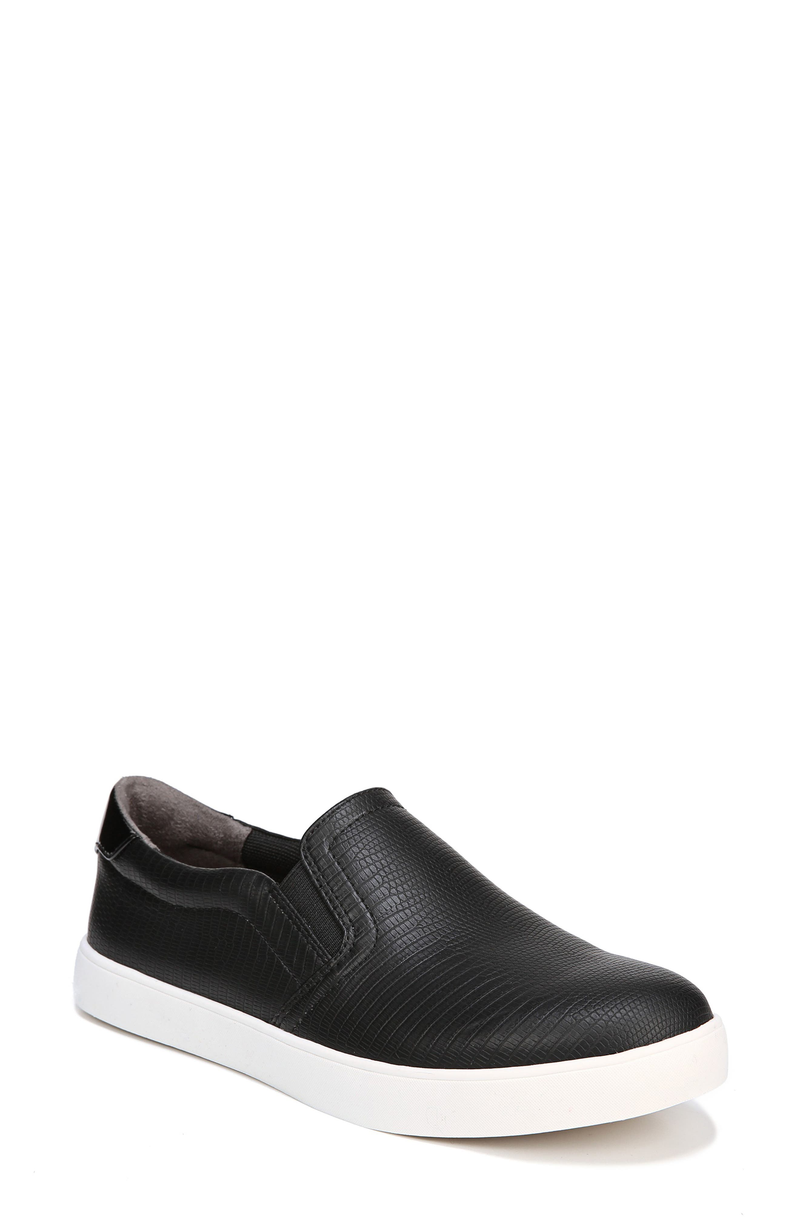 Madison Slip-On Sneaker,                             Main thumbnail 1, color,                             BLACK FAUX LEATHER