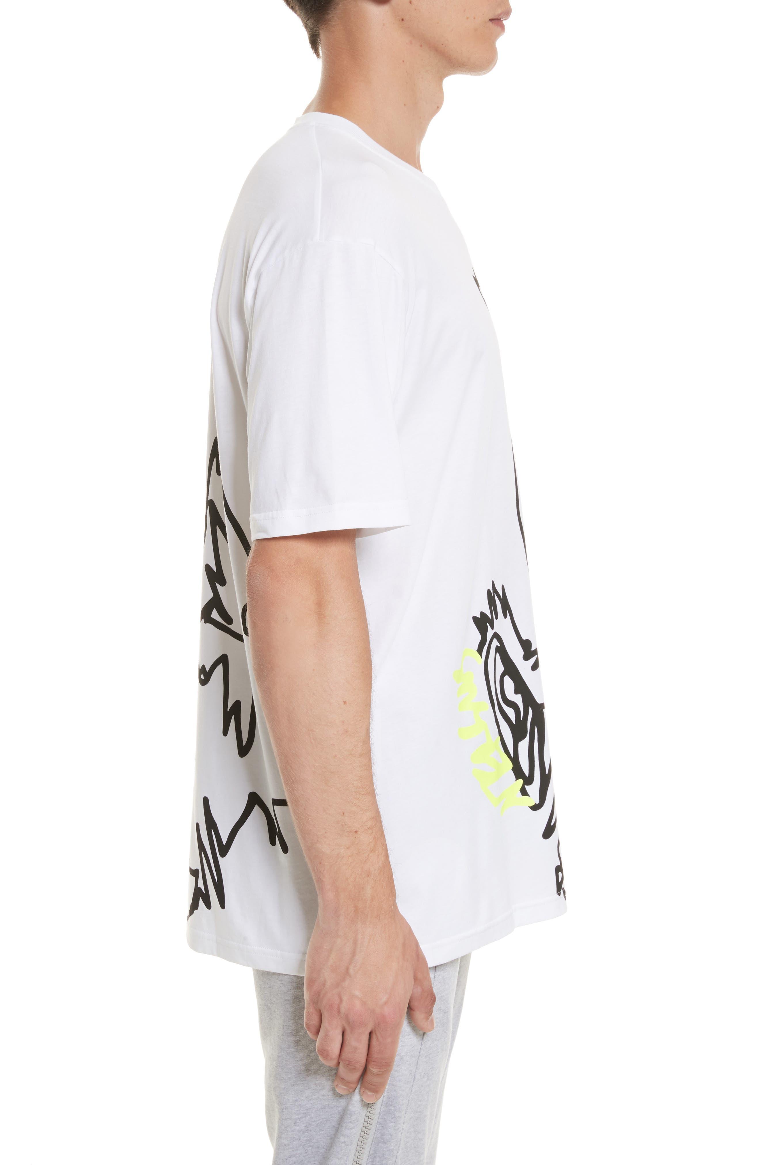 VERSUS by Versace Scribble Print T-Shirt,                             Alternate thumbnail 3, color,                             112
